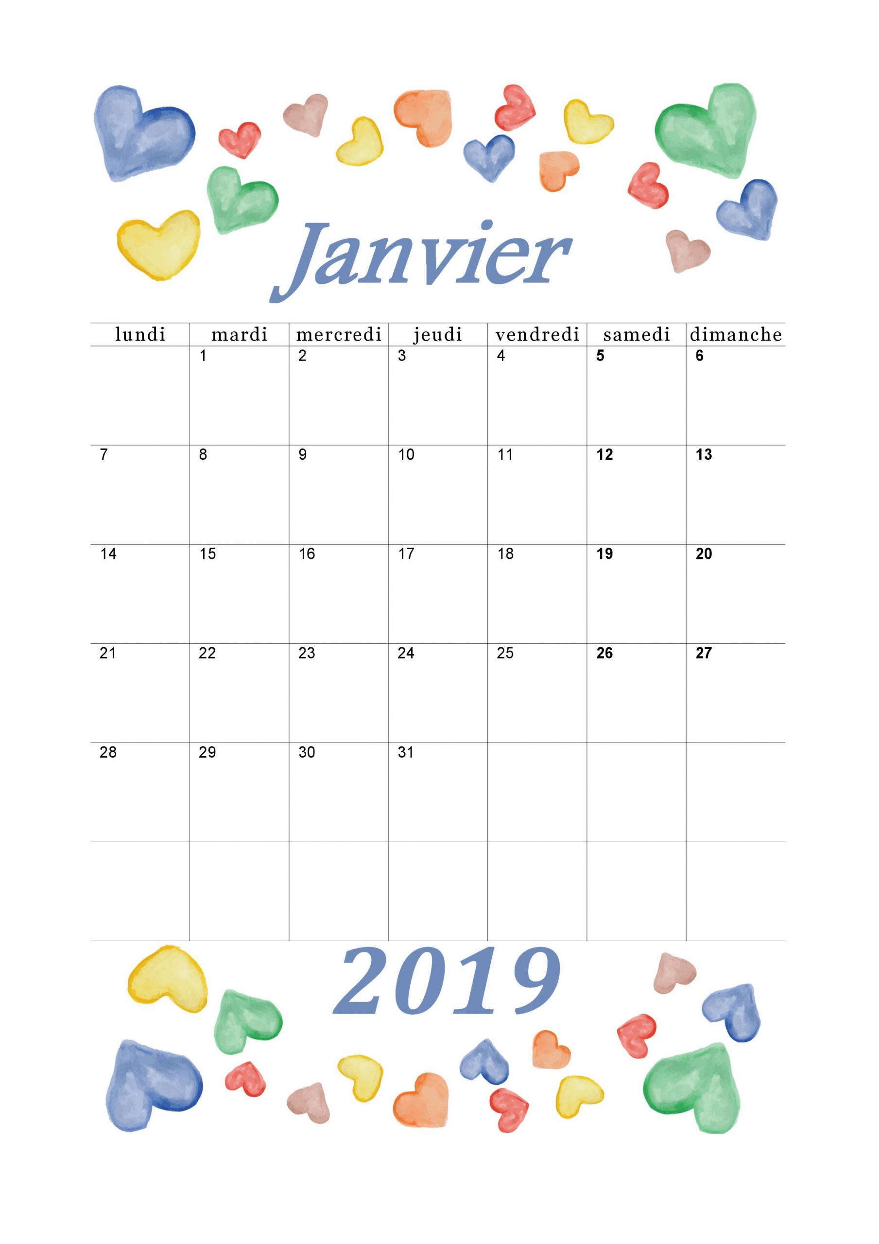 Calendrier Mensuel 2019 : Mois De Janvier | Calendrier avec Calendrier 2018 À Imprimer Pdf