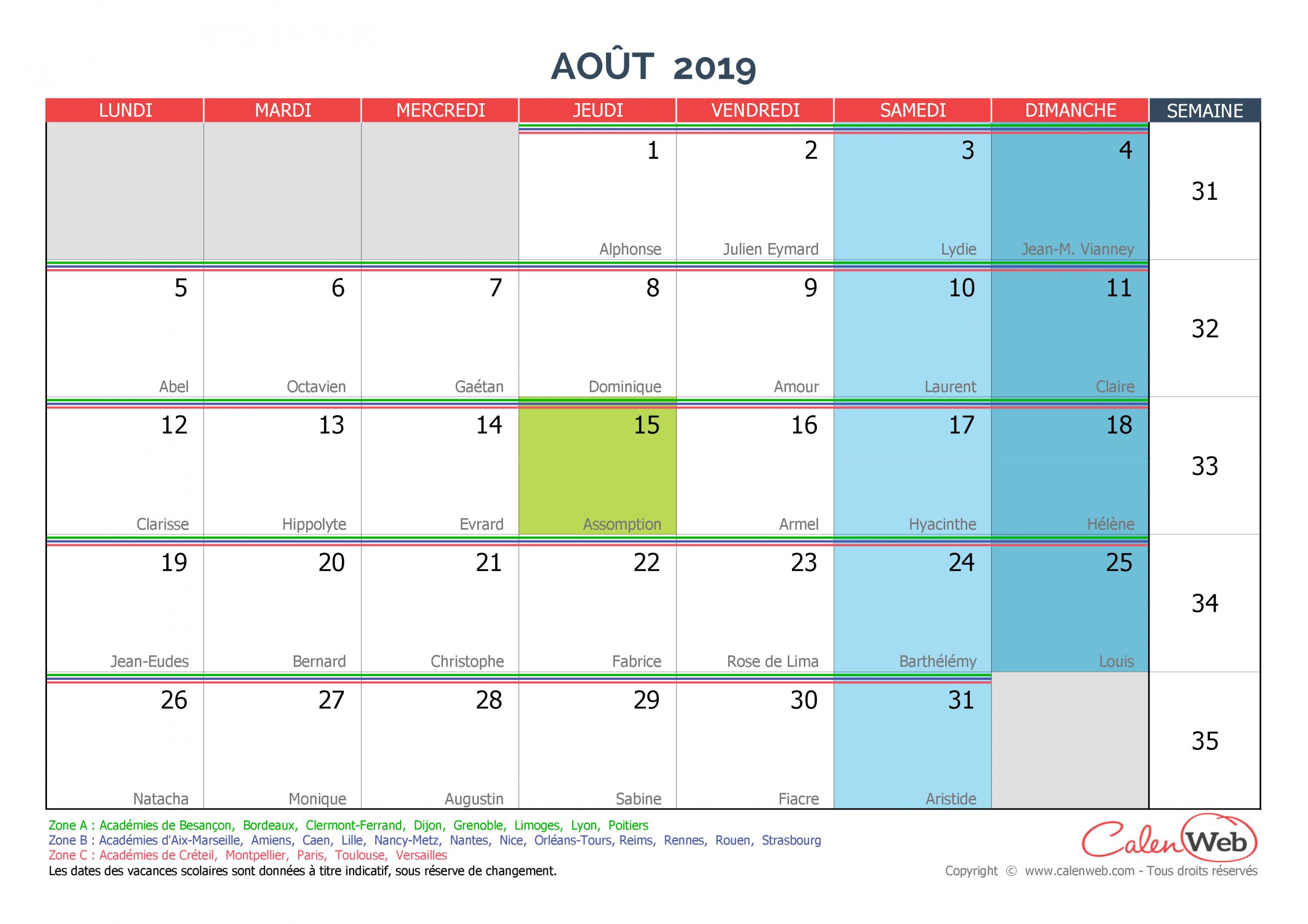 Calendrier Mensuel - Mois D'août 2019 Avec Fêtes, Jours serapportantà Calendrier 2019 Avec Jours Fériés Vacances Scolaires À Imprimer