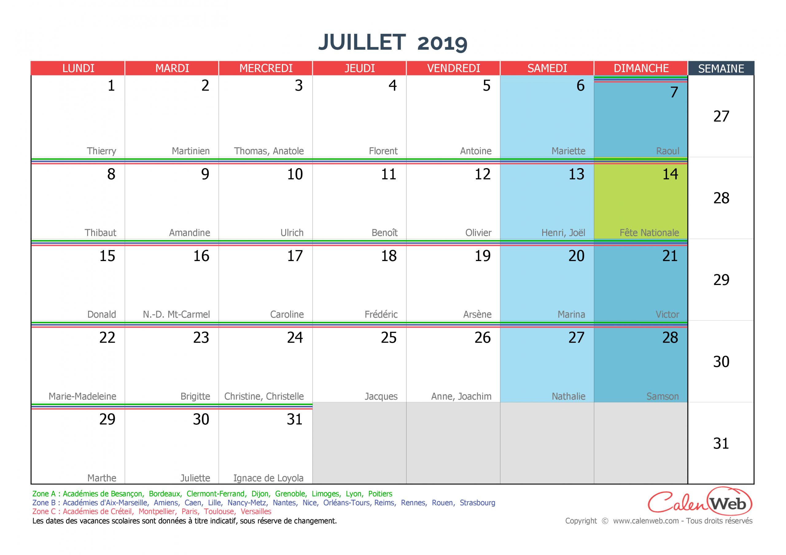 Calendrier Mensuel - Mois De Juillet 2019 Avec Fêtes, Jours encequiconcerne Calendrier 2019 Avec Jours Fériés Vacances Scolaires À Imprimer