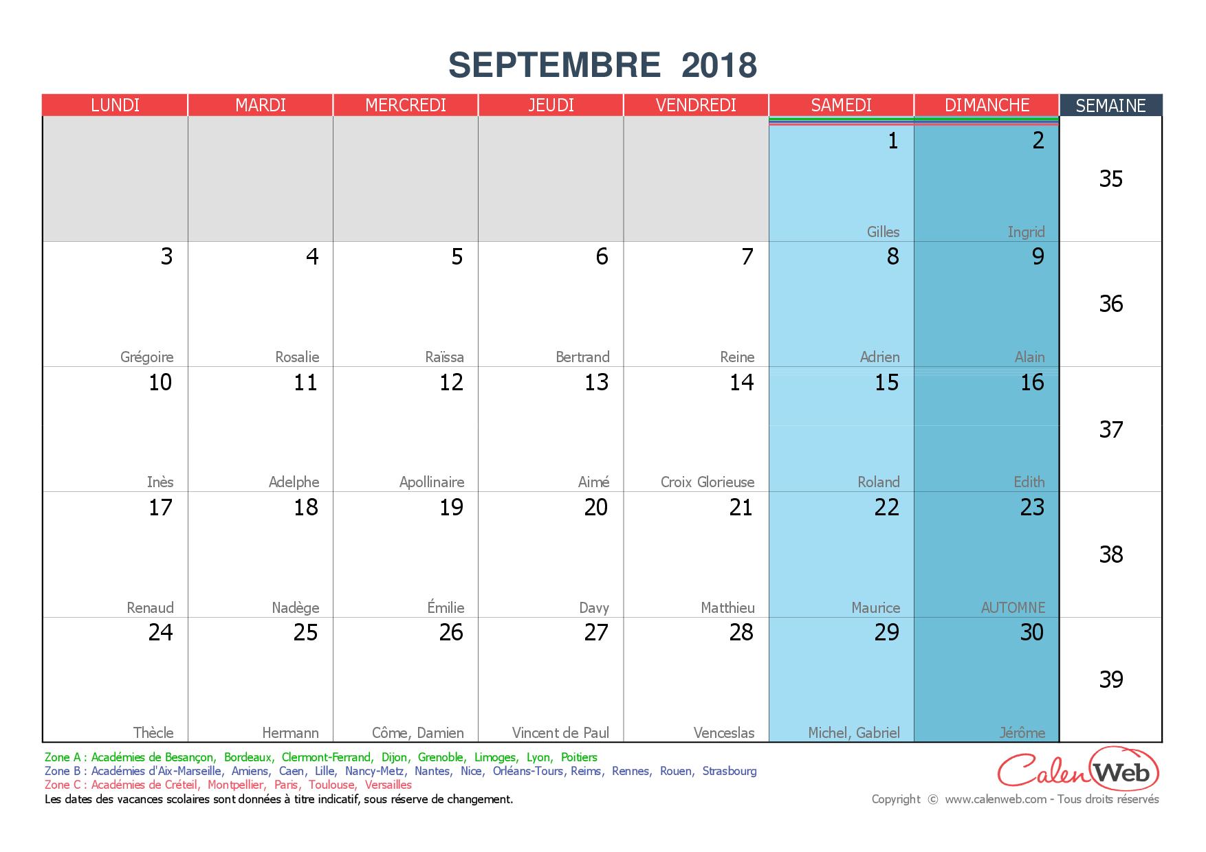 Calendrier Mensuel - Mois De Septembre 2018 Avec Fêtes destiné Calendrier 2018 Avec Jours Fériés Vacances Scolaires À Imprimer