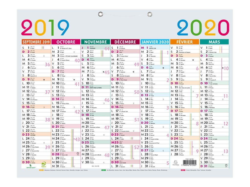 Calendrier Multicolore 43X33,5Cm Exacompta concernant Calendrier 2019 Avec Semaine