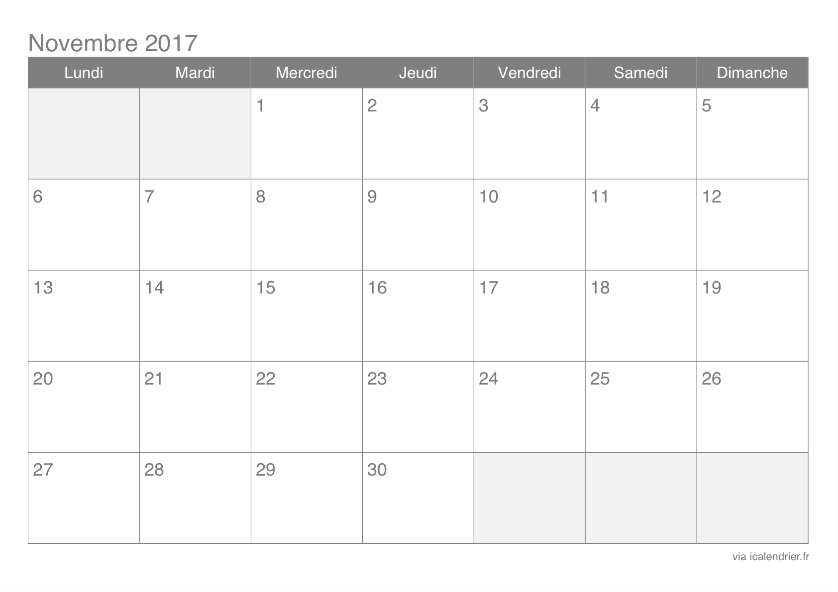 Calendrier-Novembre-2017 (1684×1190) | Calendrier concernant Calendrier 2017 En Ligne