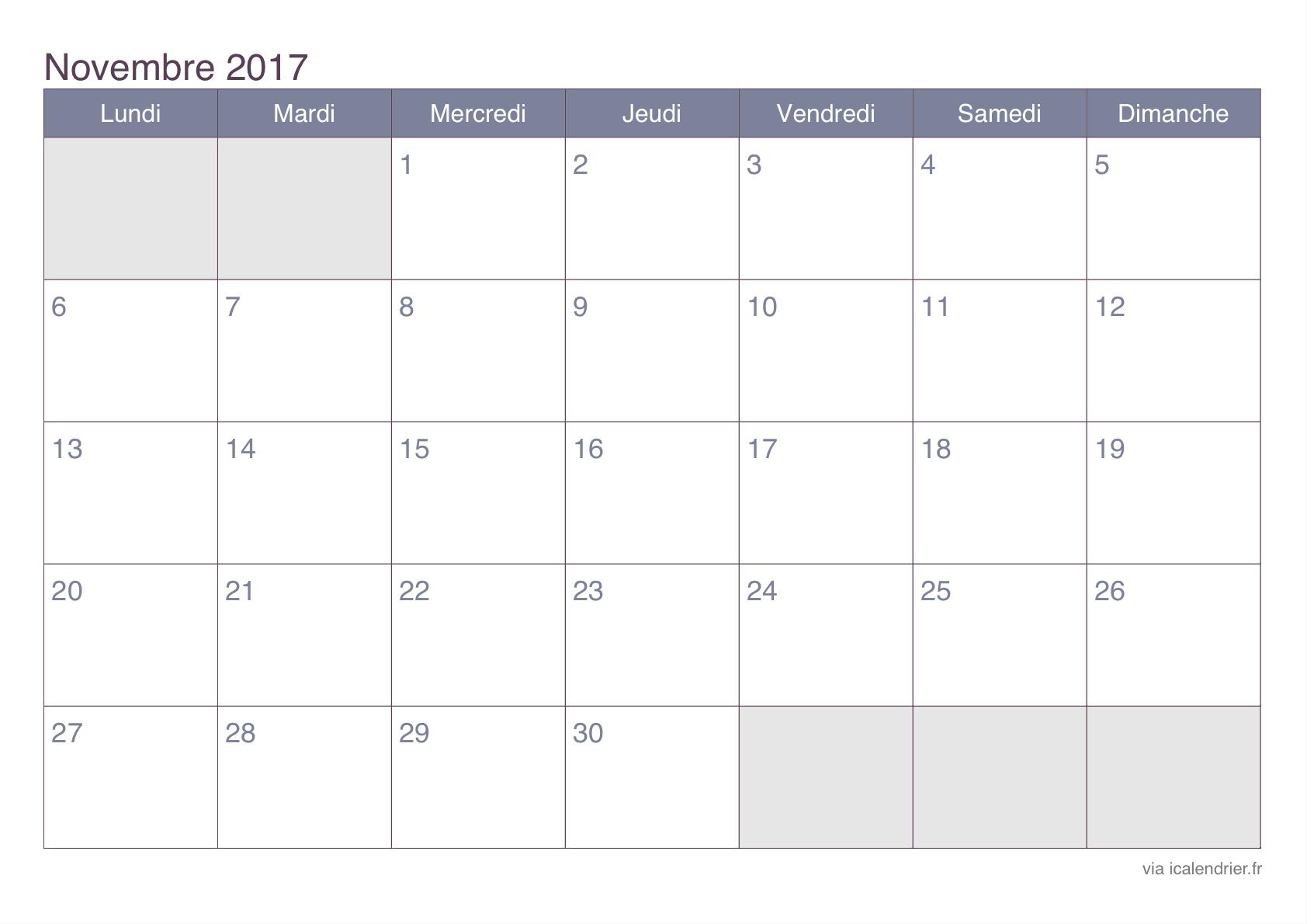 Calendrier Novembre 2017 À Imprimer - Icalendrier pour Calendrier 2017 Imprimable