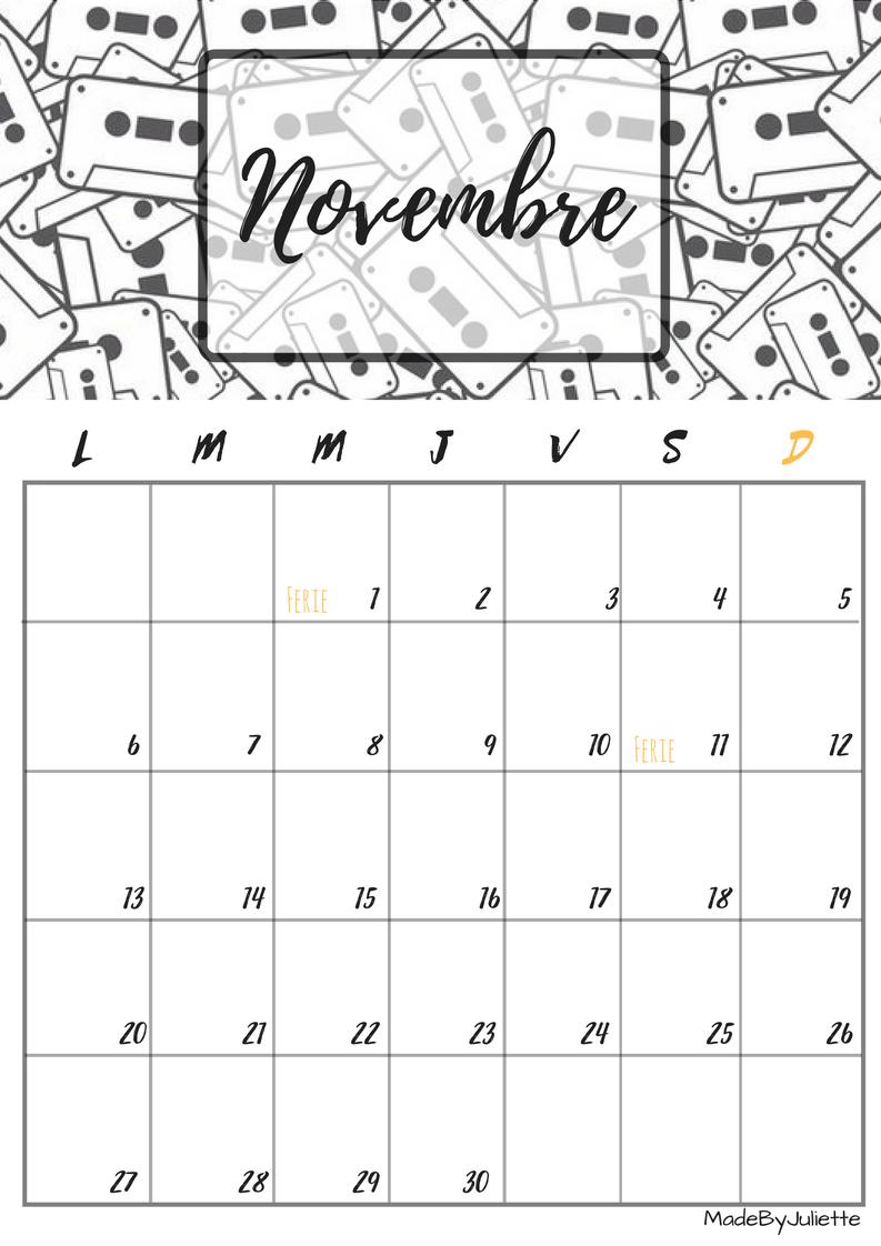 Calendrier - Novembre 2017 - Imprimes Le Calendrier Pour tout Calendrier 2017 Imprimable