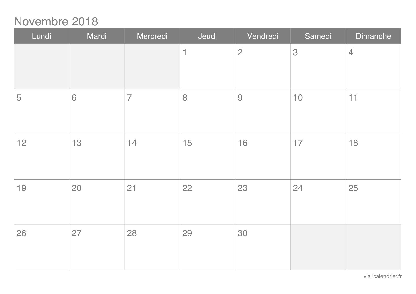 Calendrier Novembre 2018 À Imprimer - Icalendrier à Calendrier 2018 À Imprimer Pdf