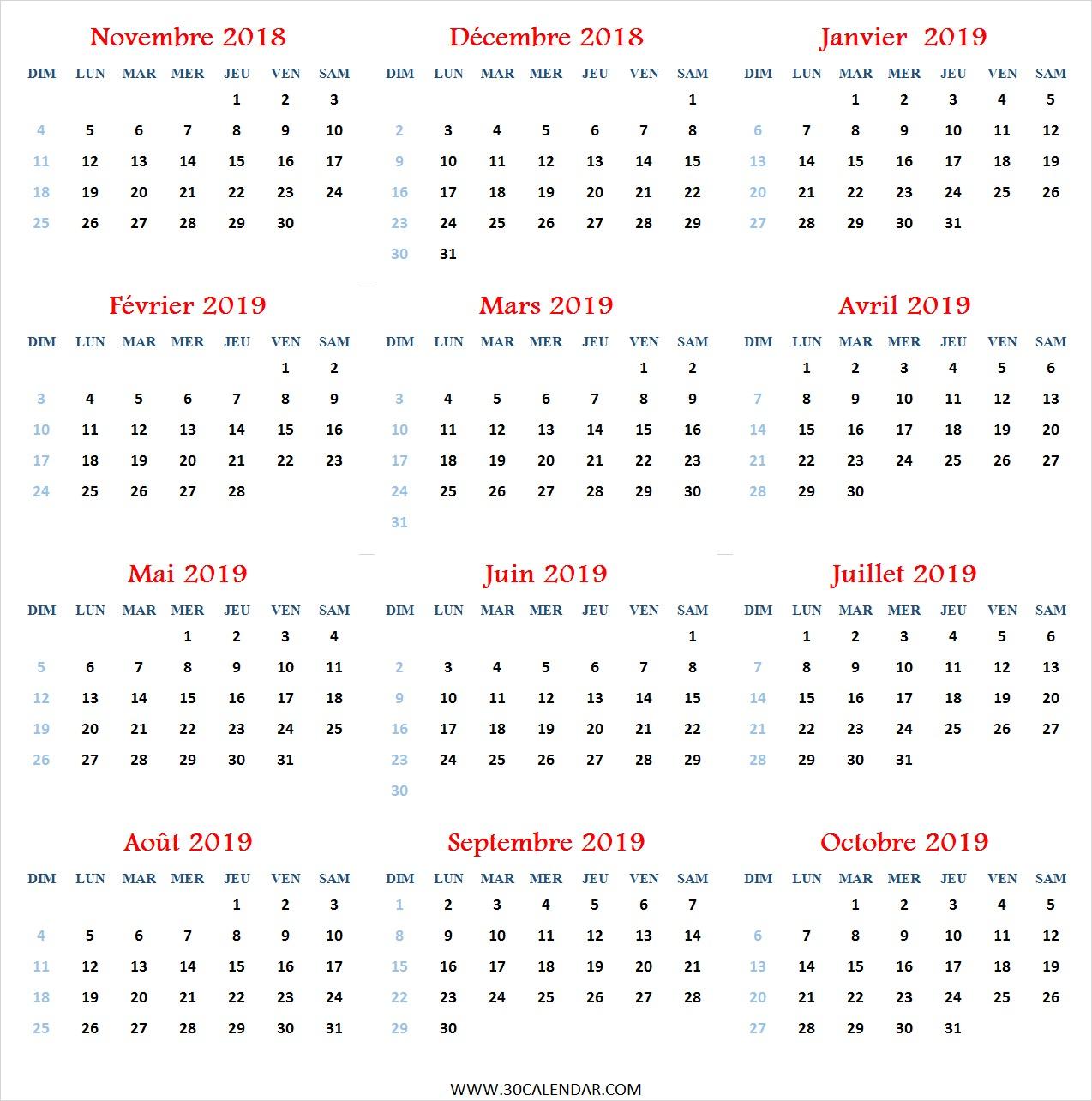 Calendrier Novembre 2018 À Octobre 2019 À Imprimer | Douze Mois dedans Calendrier Mensuel 2018 À Imprimer