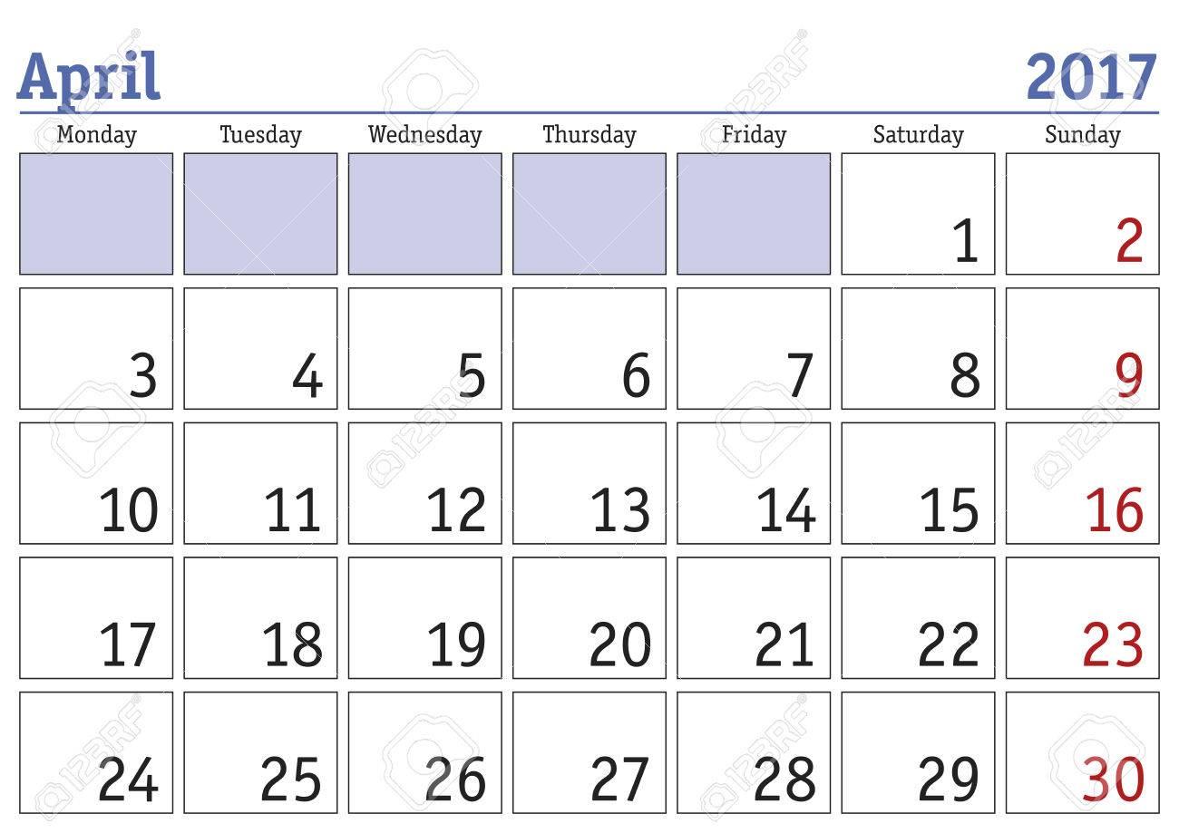 Calendrier Numérique Simple Pour Avril 2017. Vector Imprimable Calendrier.  Planificateur Mensuel. La Semaine Commence Le Lundi. Anglais Calendar avec Calendrier 2017 Imprimable