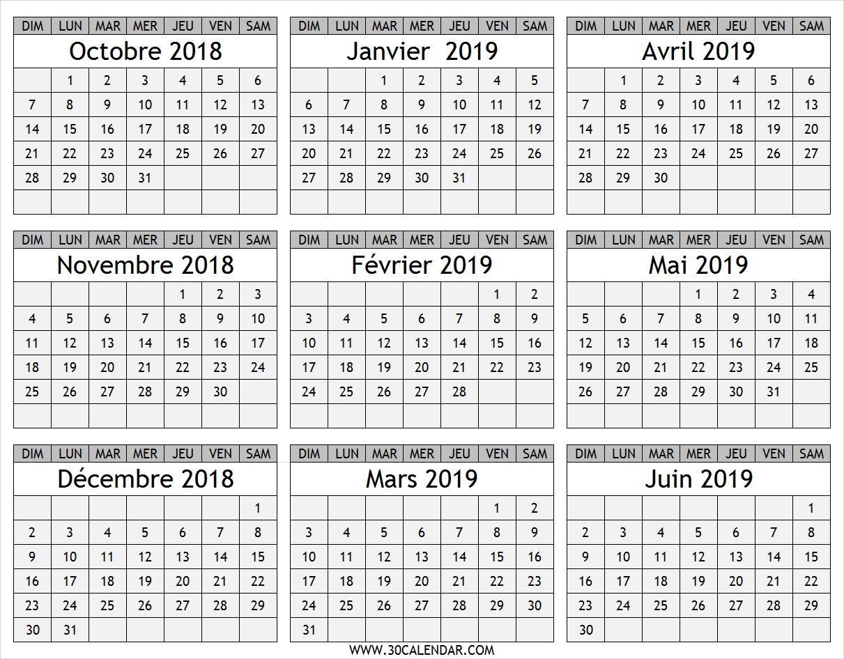Calendrier Octobre 2018 À Juin 2019 | Calendrier De Neuf Mois intérieur Calendrier Mensuel 2018 À Imprimer