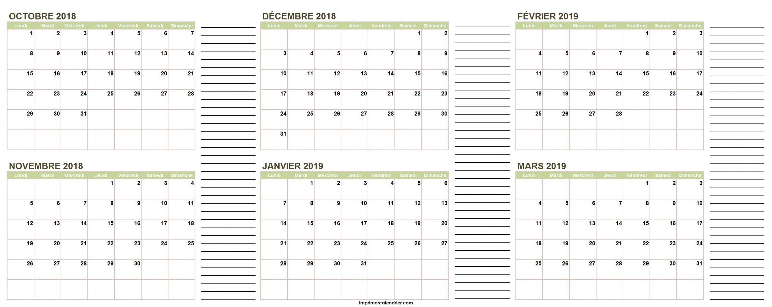 Calendrier Octobre 2018 À Mars 2019 | Calendrier Pour Imprimer pour Calendrier Annuel 2019 À Imprimer Gratuit