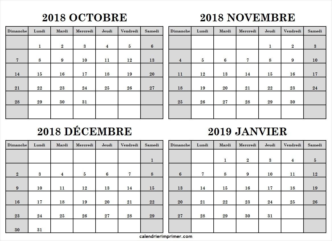 Calendrier Octobre Novembre Décembre 2018 Janvier 2019 intérieur Calendrier Mensuel 2018 À Imprimer