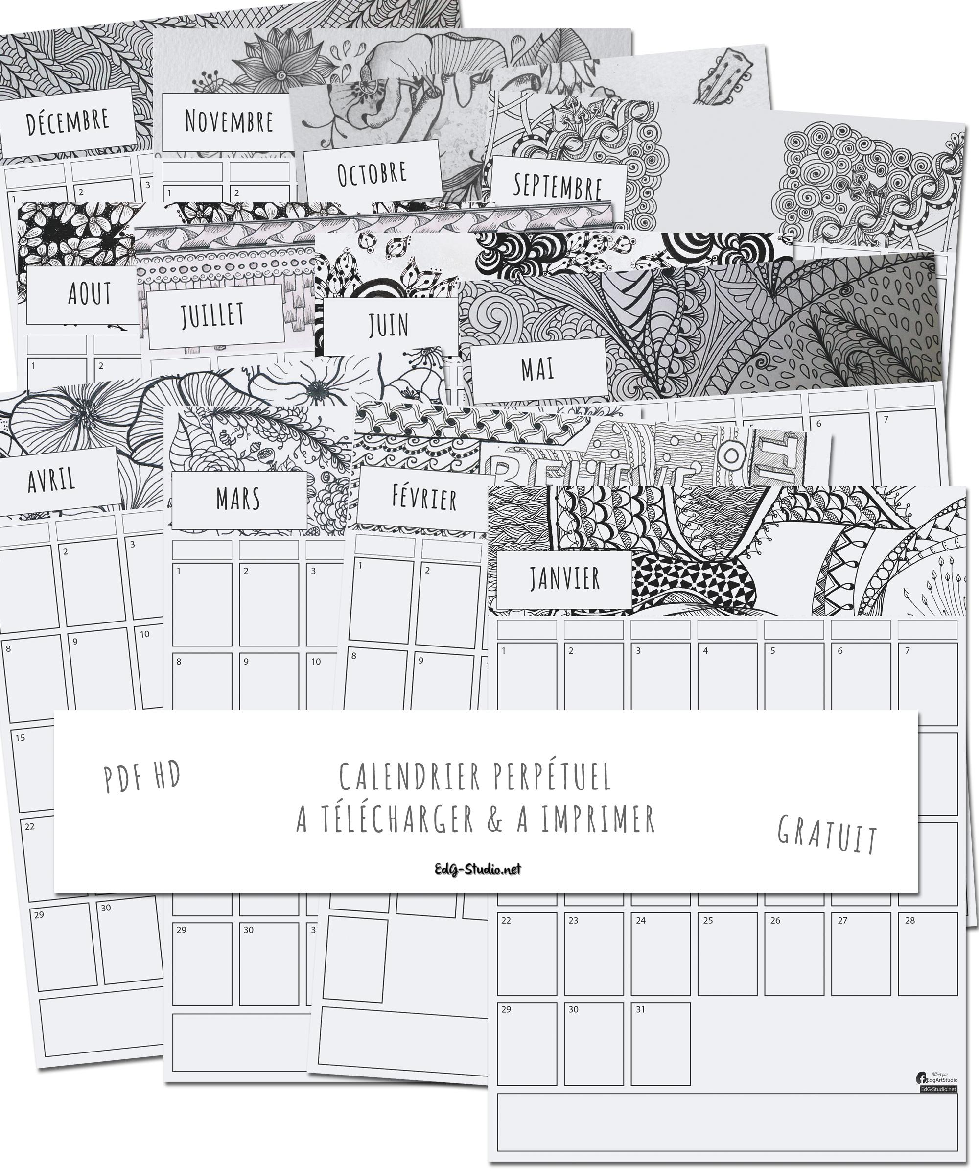 Calendrier Perpétuel À Imprimer – Ed. G Studio encequiconcerne Calendrier Perpétuel À Imprimer