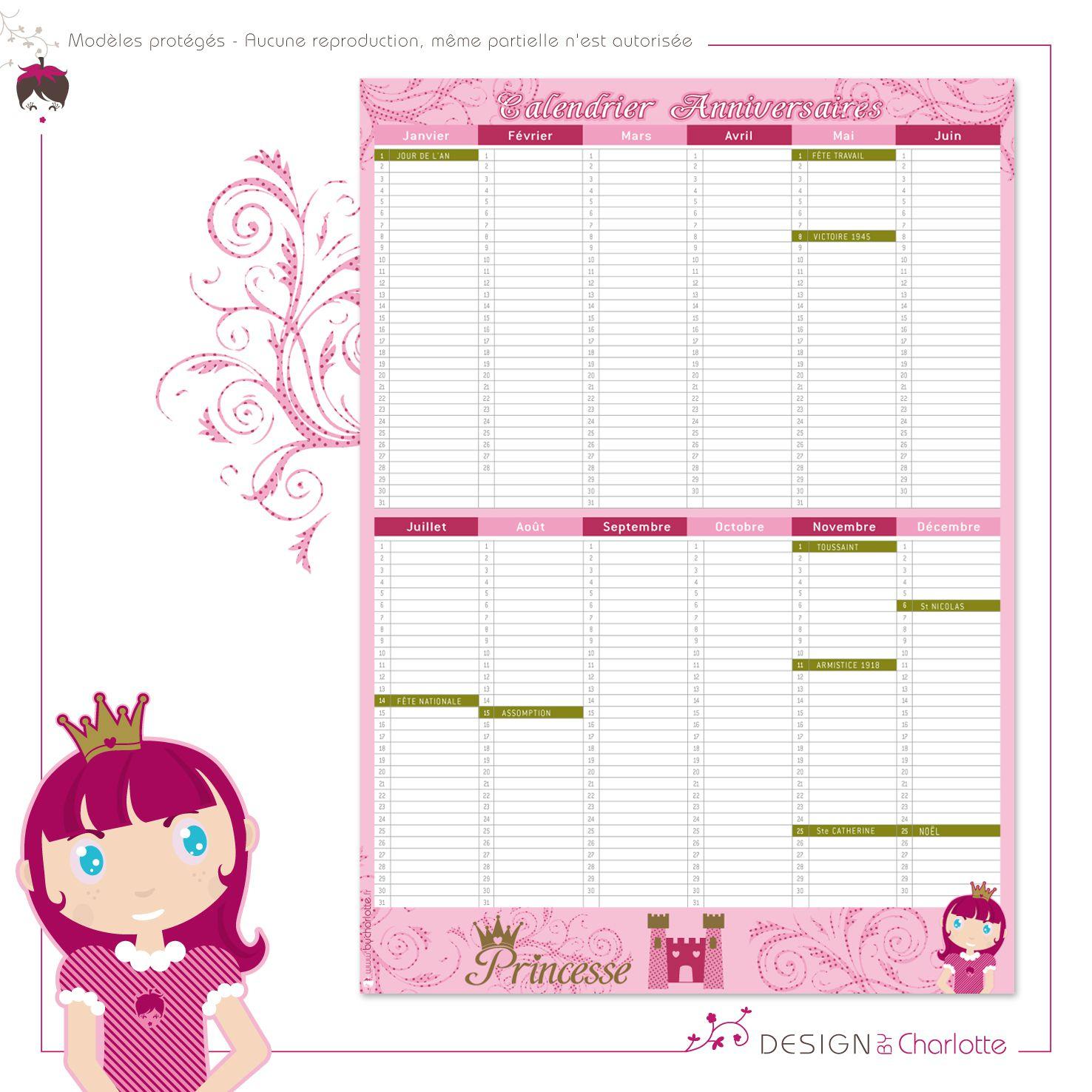 Calendrier Perpétuel Princesse - Anniversaire Et Fête avec Calendrier Des Anniversaires À Imprimer