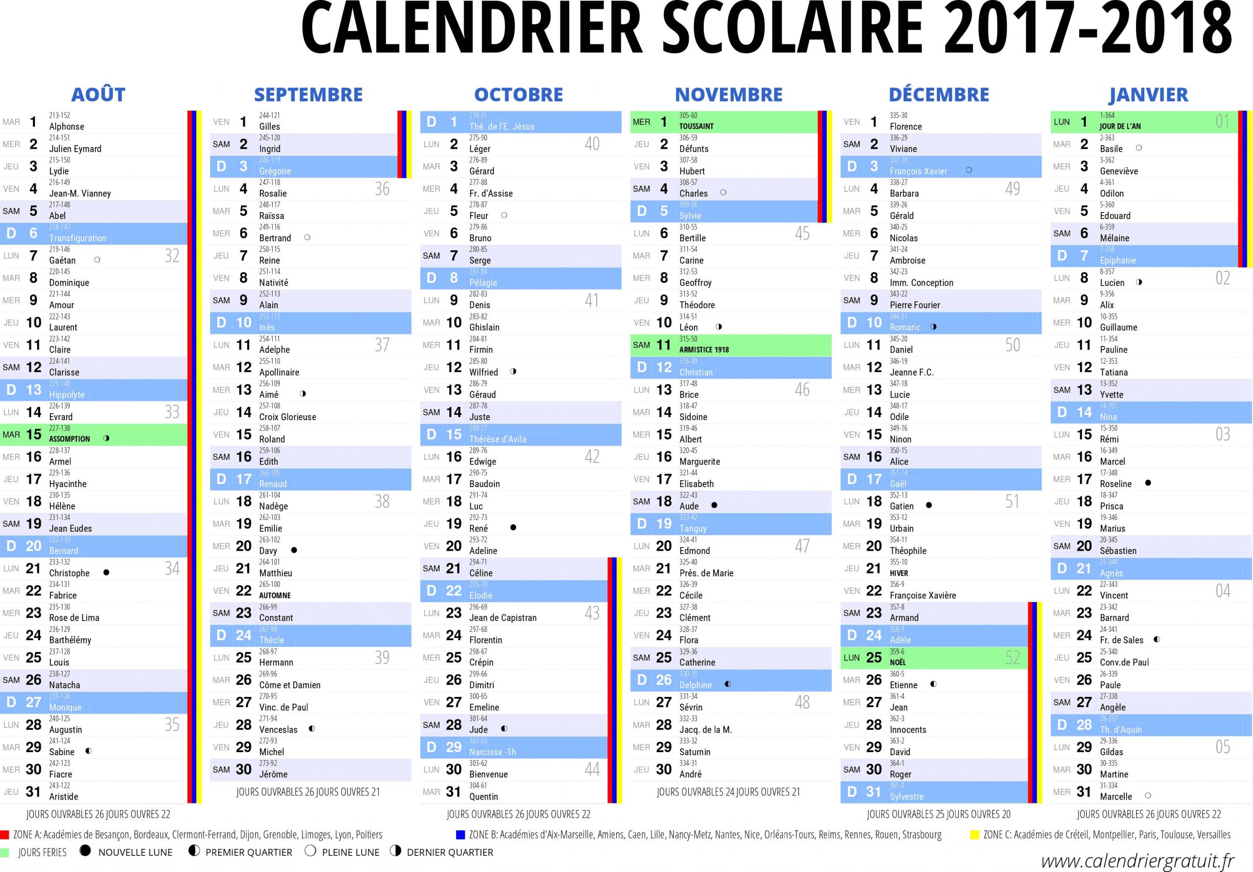 Calendrier #scolaire 2017 2018 A Imprimer - 1Er Semestre De intérieur Calendrier 2017 Imprimable