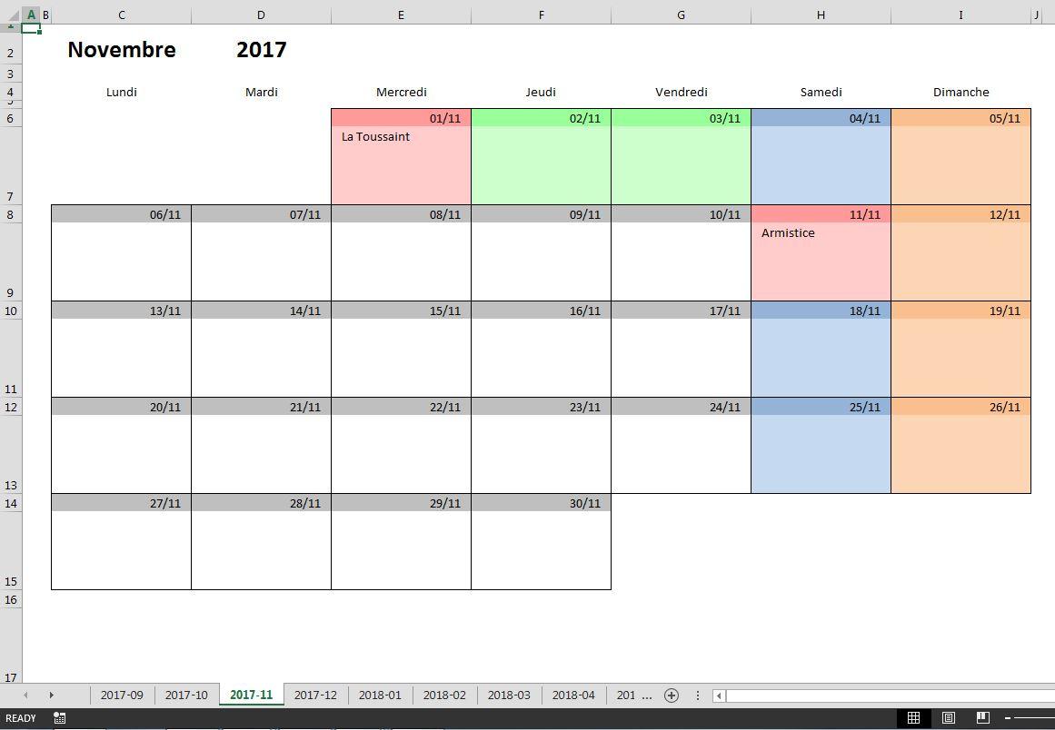 Calendrier Scolaire 2017-2018 À Imprimer, En Excel Et En Pdf avec Calendrier Mensuel 2018 À Imprimer