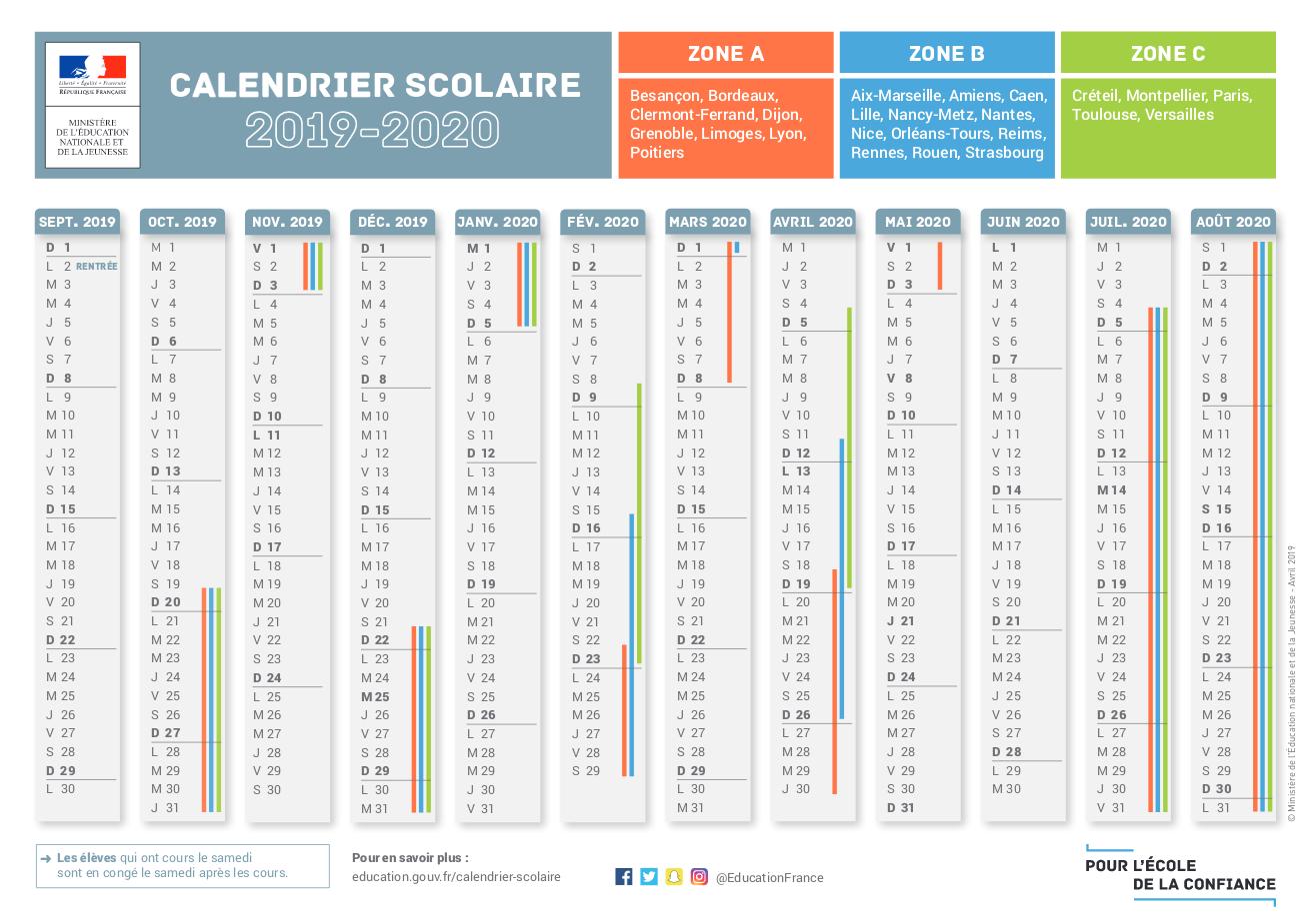 Calendrier Scolaire 2019 - 2020 À Imprimer Avec Tête À Modeler pour Calendrier En Ligne Gratuit A Imprimer