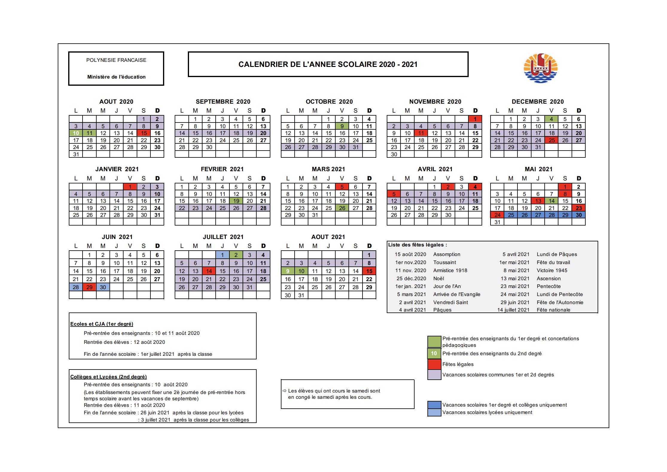 Calendrier Scolaire 2020-2023 - Vice-Rectorat De Polynésie à Calendrier 2019 Avec Jours Fériés Vacances Scolaires