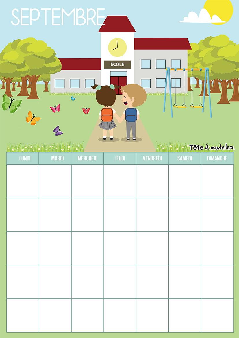 Calendrier Septembre 2018 À Imprimer destiné Calendrier 2018 Enfant