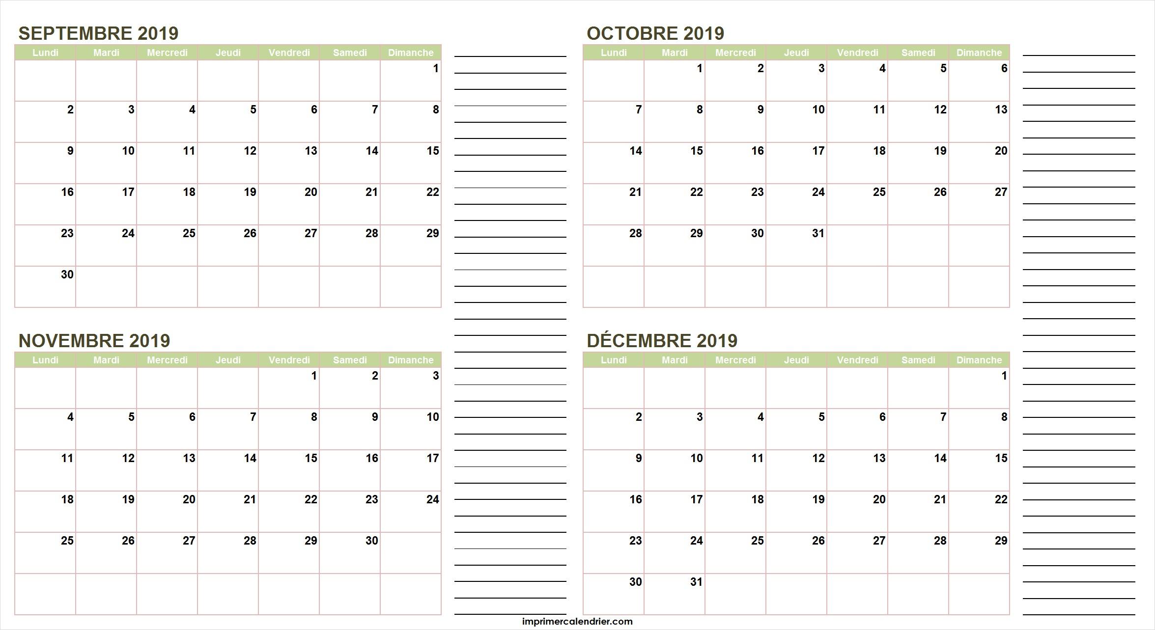 Calendrier Septembre Octobre Novembre Décembre 2019 avec Calendrier Annuel 2019 À Imprimer Gratuit