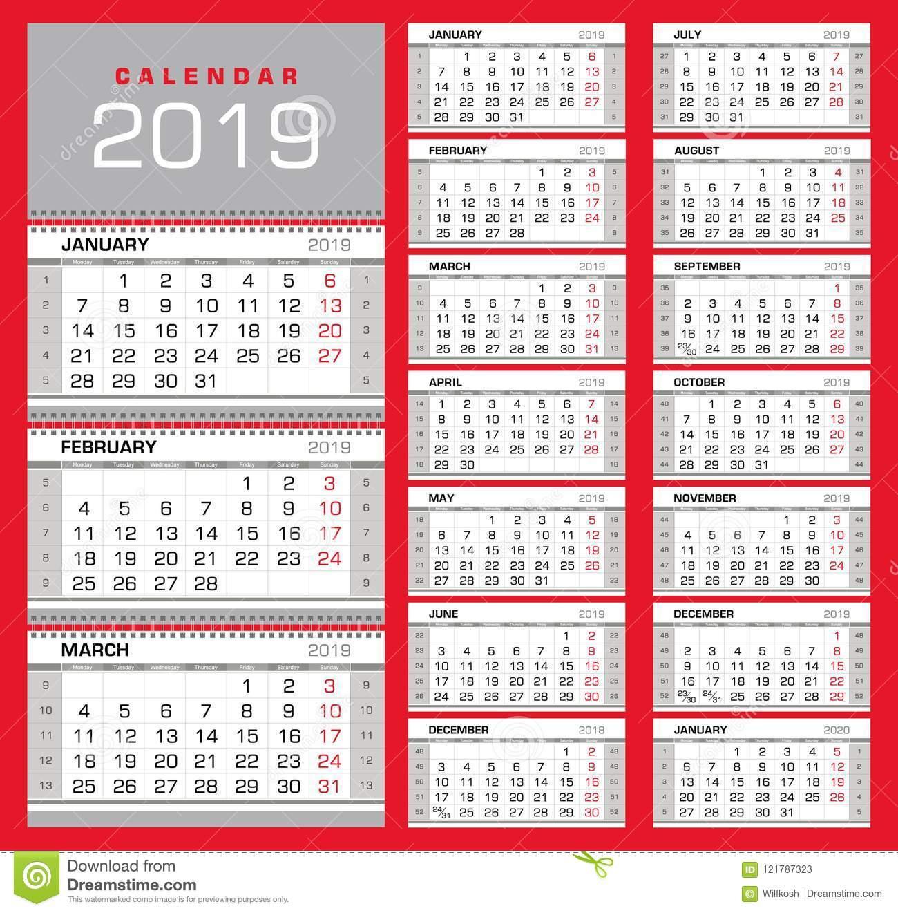 Calendrier Trimestriel 2019 De Mur Avec Des Nombres De avec Calendrier 2019 Avec Semaine