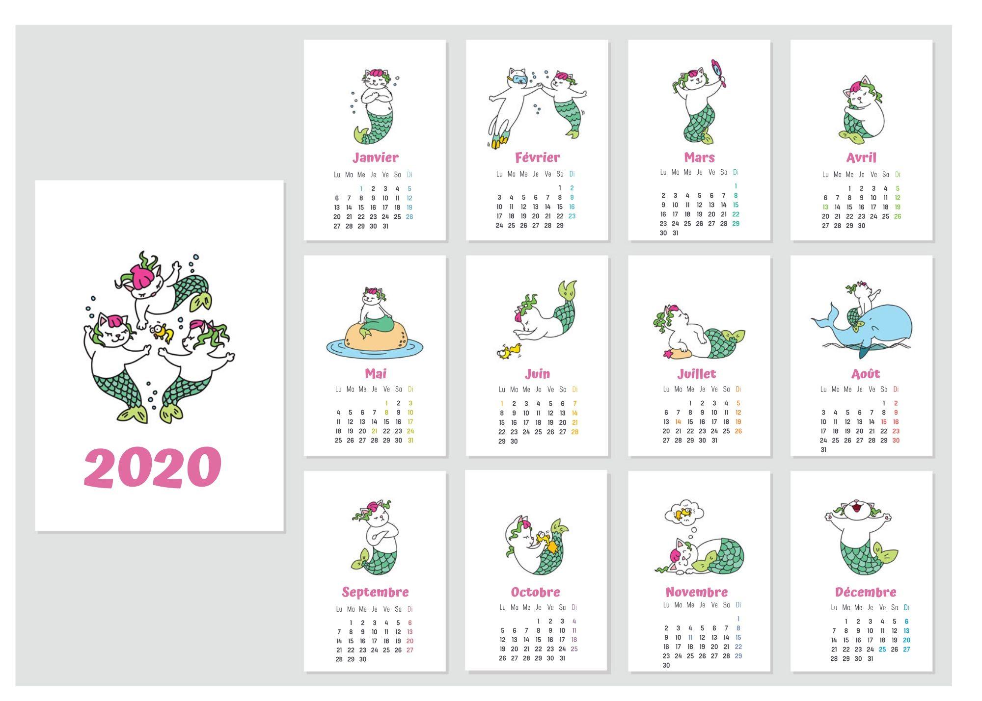 Calendriers 2020 À Imprimer Pour Les Enfants dedans Calendrier Ludique À Imprimer