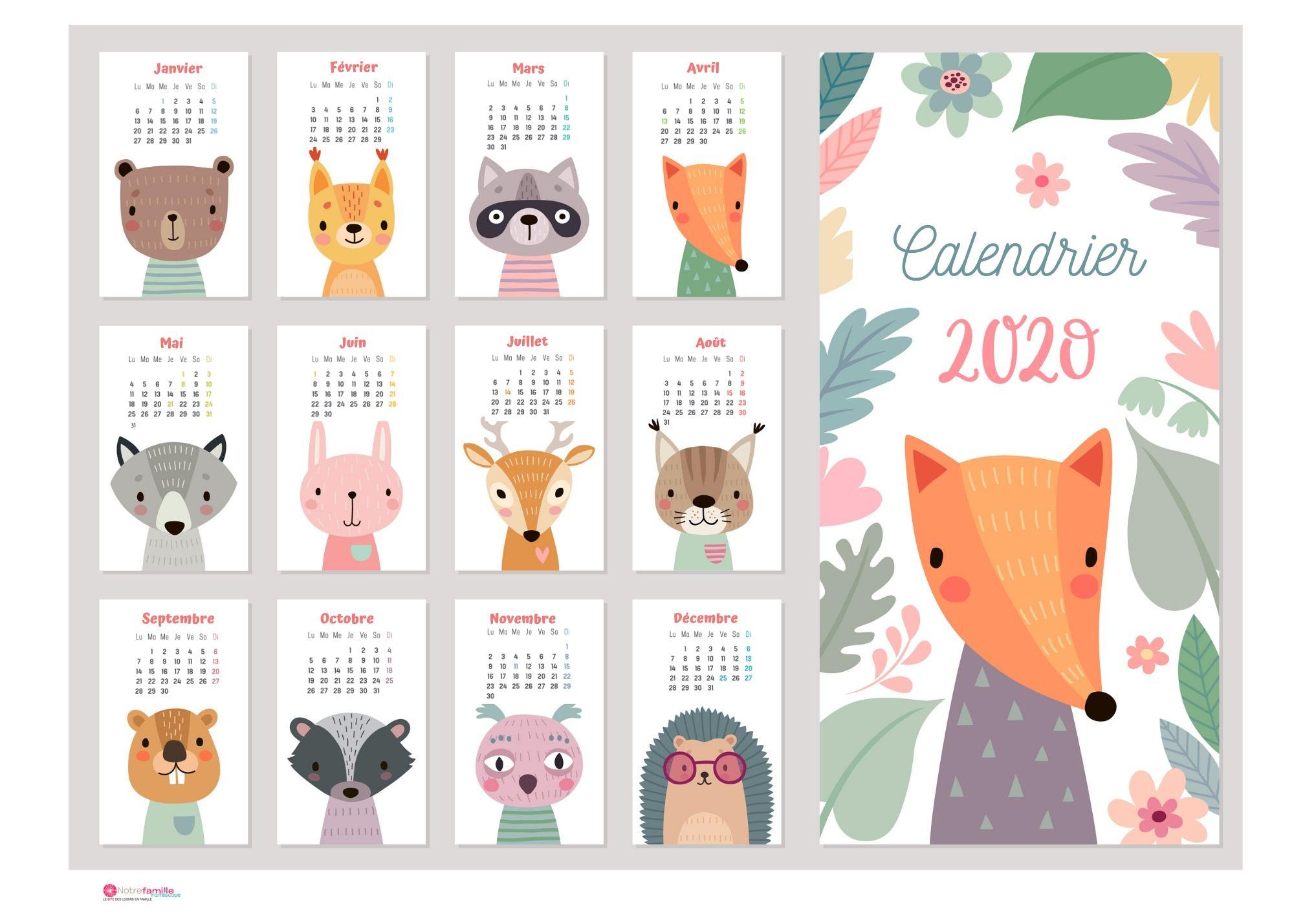 Calendriers 2020 À Imprimer Pour Les Enfants pour Activité 3 Ans Imprimer