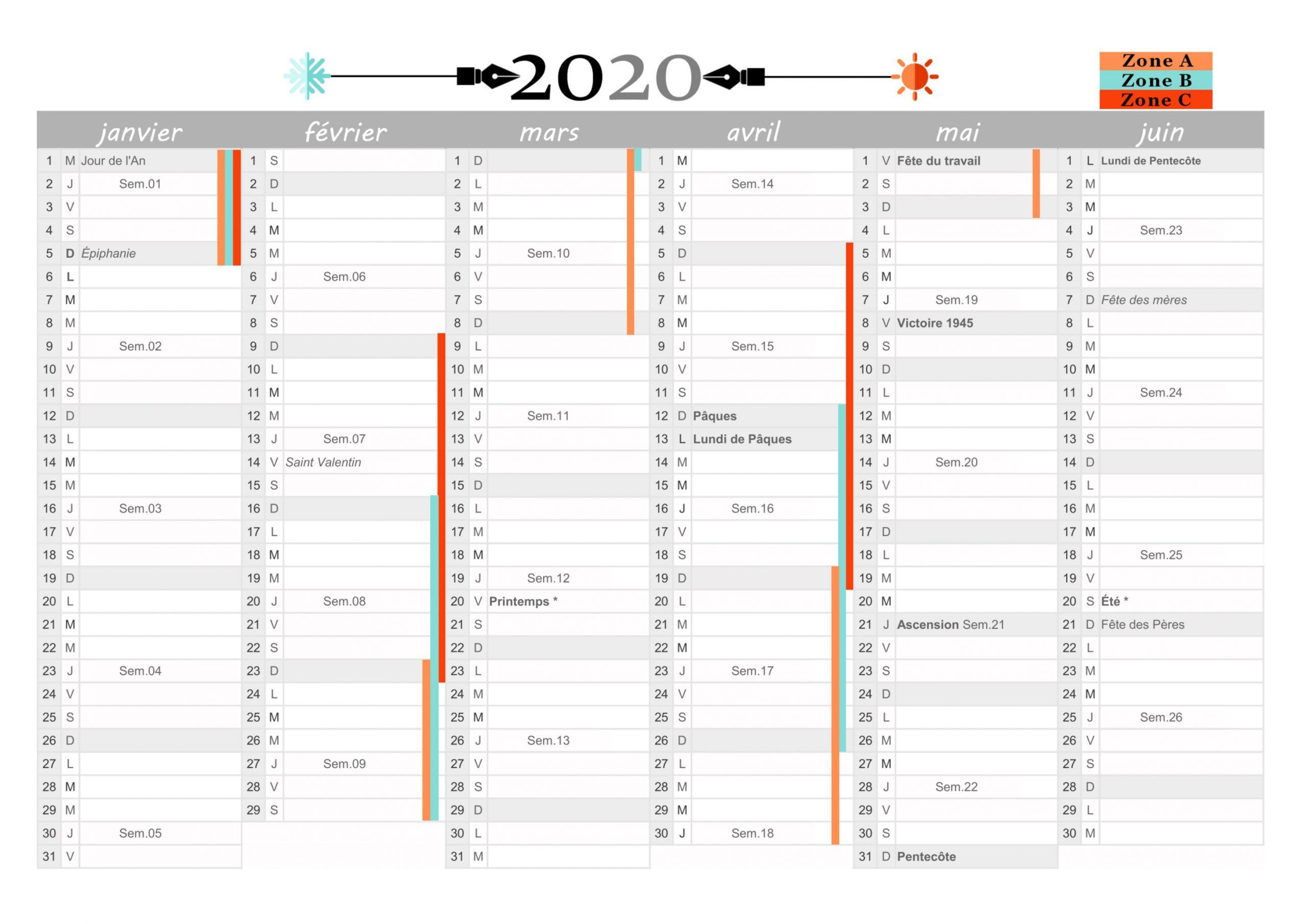 Calendriers 2020 (Gratuits) À Imprimer En Pdf pour Calendrier 2019 Avec Jours Fériés Vacances Scolaires À Imprimer