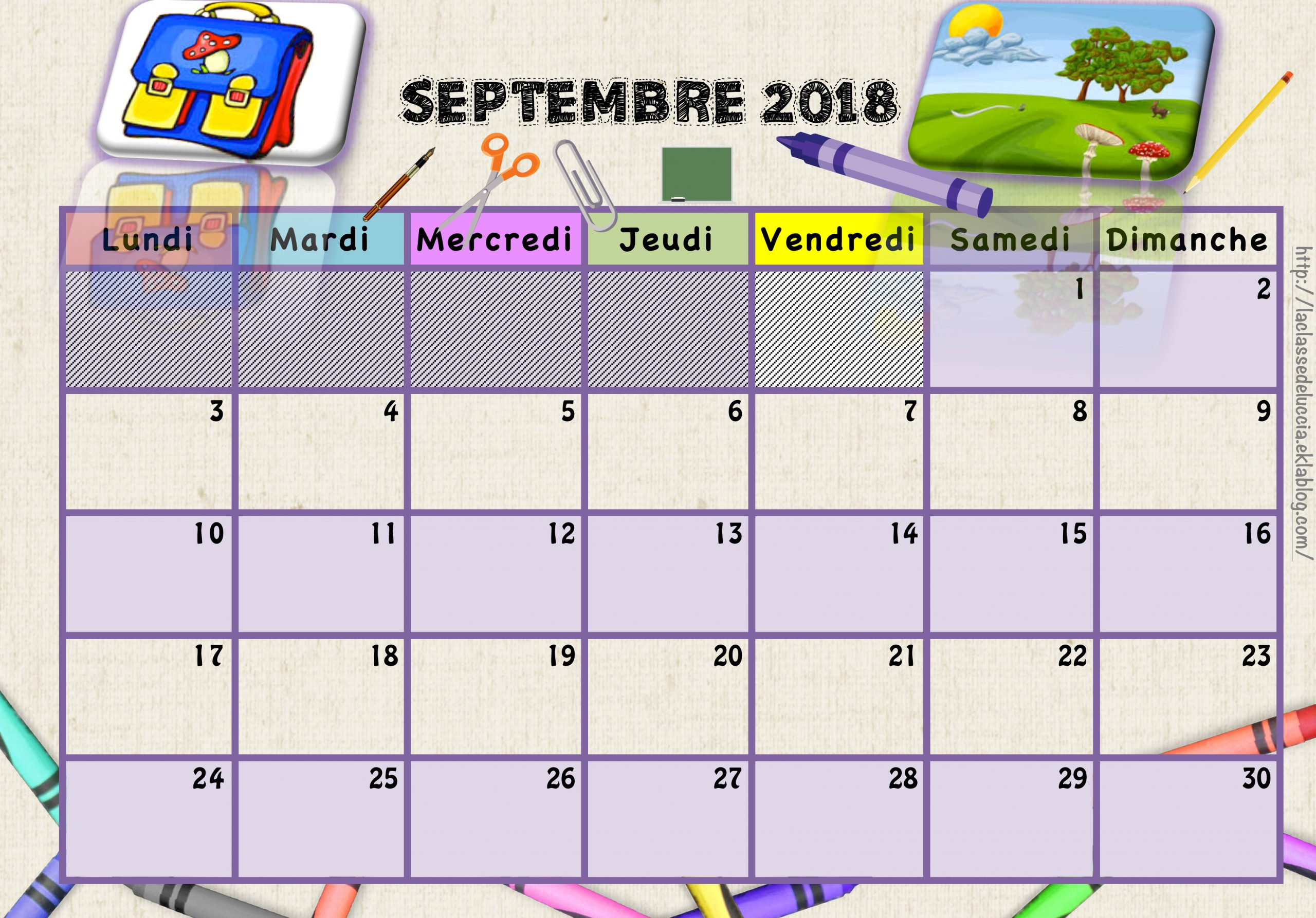 Calendriers Enfants 2018/2019 - La Classe De Luccia ! concernant Calendrier 2018 Enfant