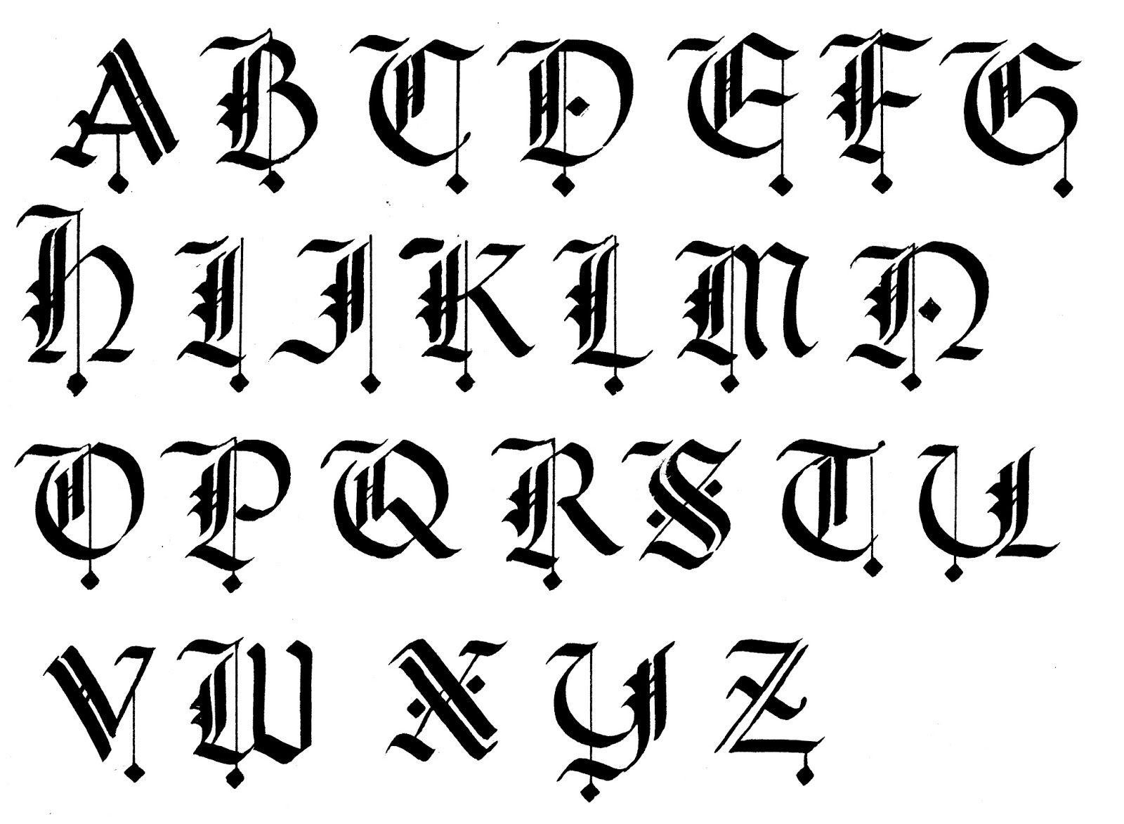 Calligraphy Alphabet For Beginners | Gothic Calligraphy concernant Modele Lettre Alphabet