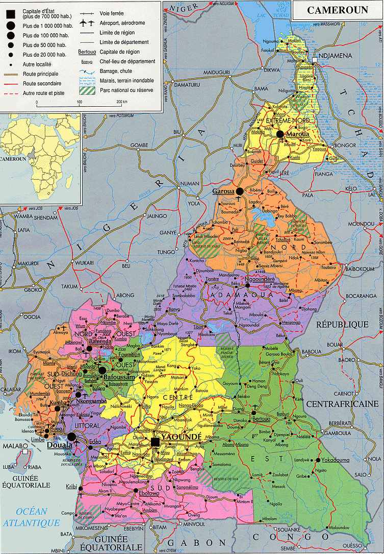 Cameroun Detailed Administrative And Political Map. Detailed avec Carte Region Departement