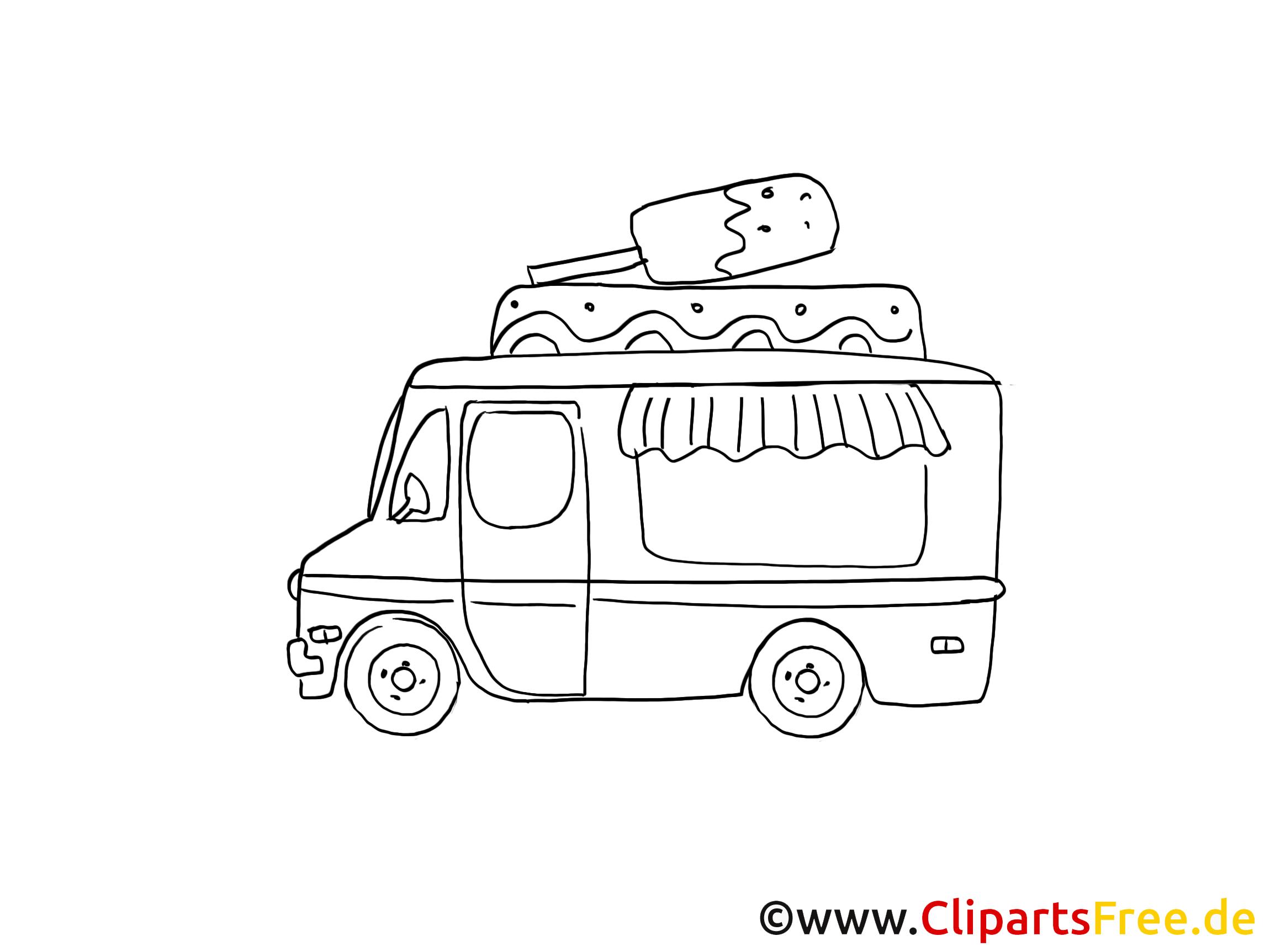 Camion De Crème Glacée Clipart Gratuit À Colorier - Voitures concernant Dessin D Un Camion