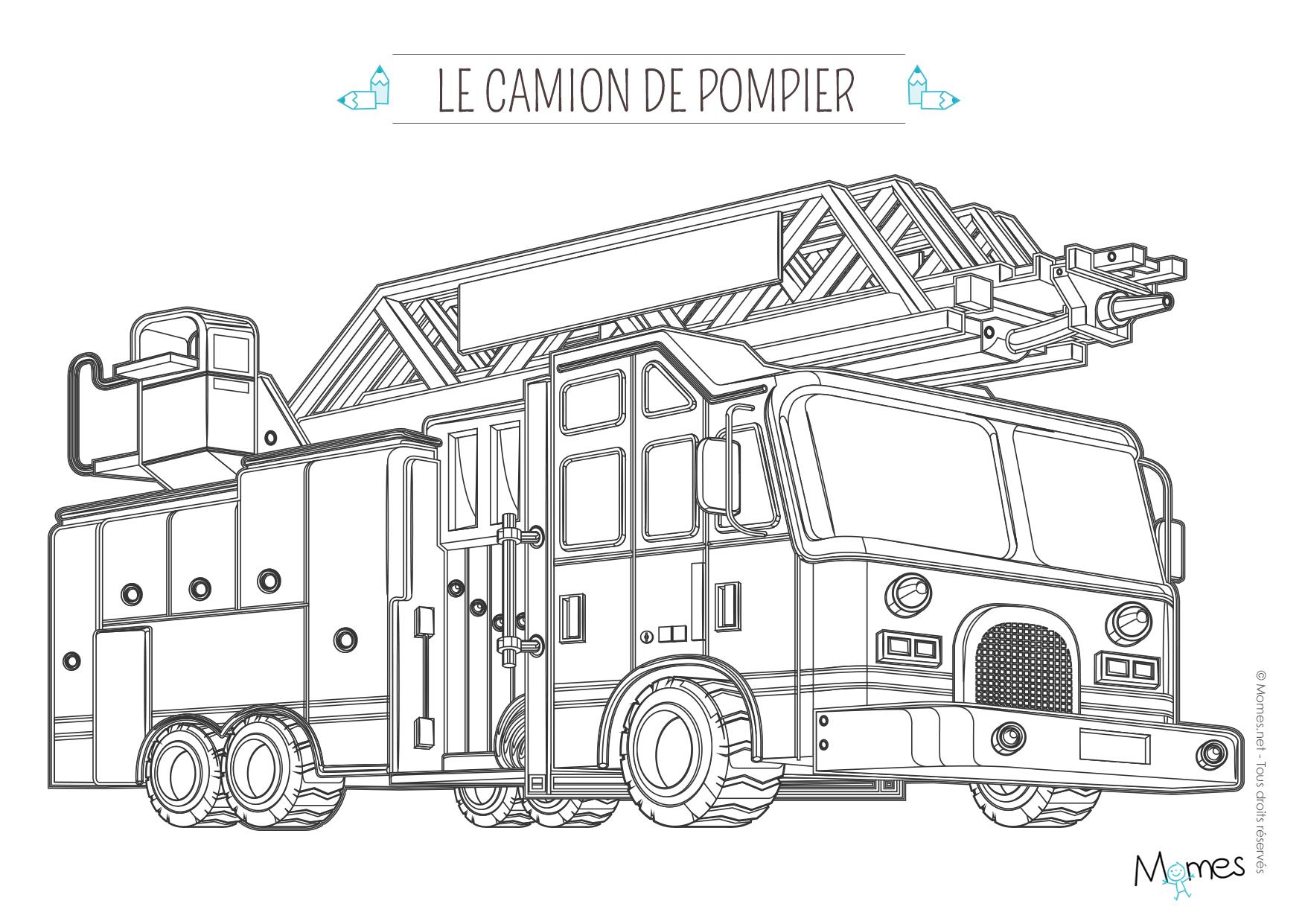 Camion De Pompier #44 (Transport) – Coloriages À Imprimer encequiconcerne Dessin De Pompier À Imprimer