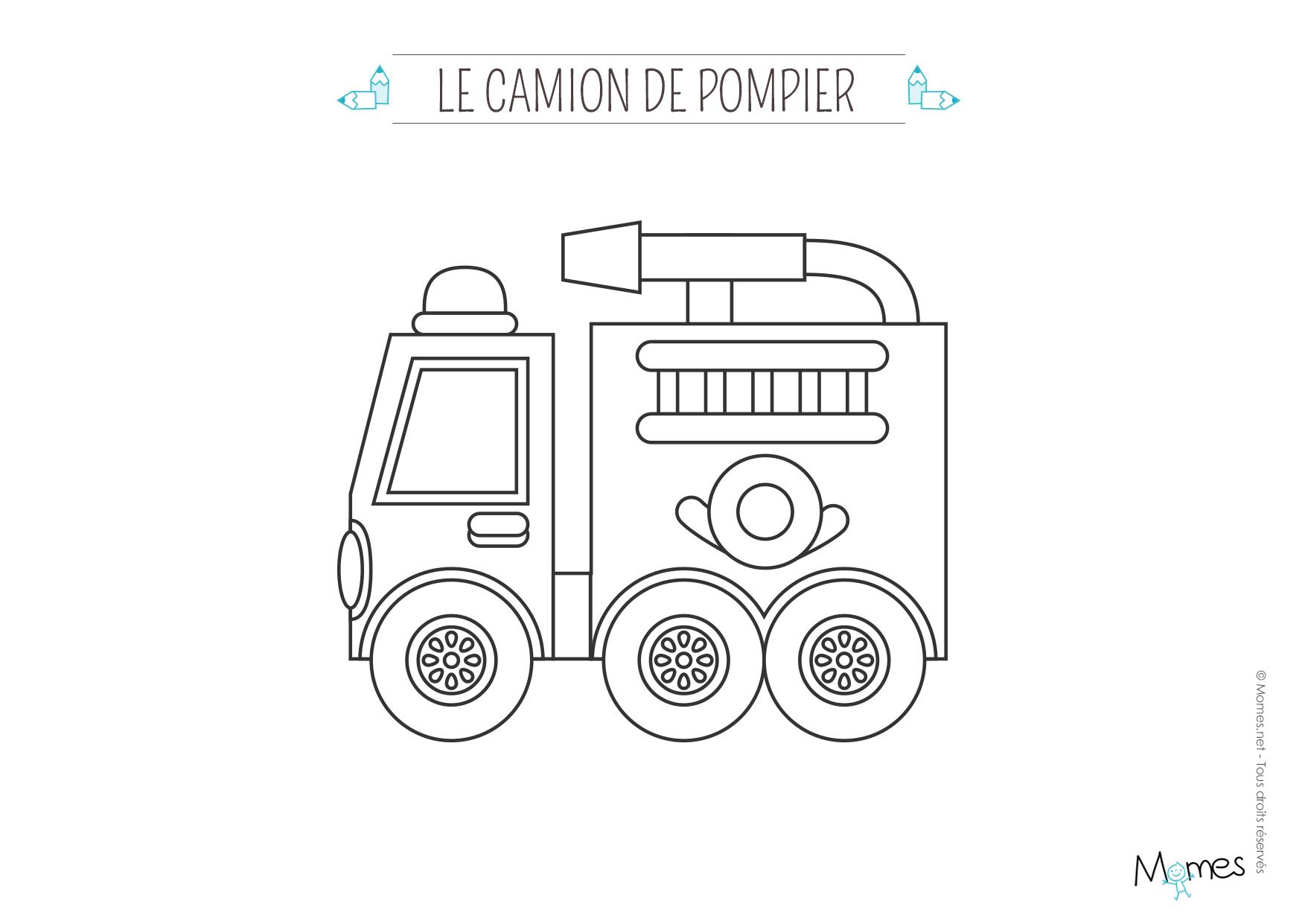 Camion De Pompier #50 (Transport) – Coloriages À Imprimer avec Dessin De Pompier À Imprimer