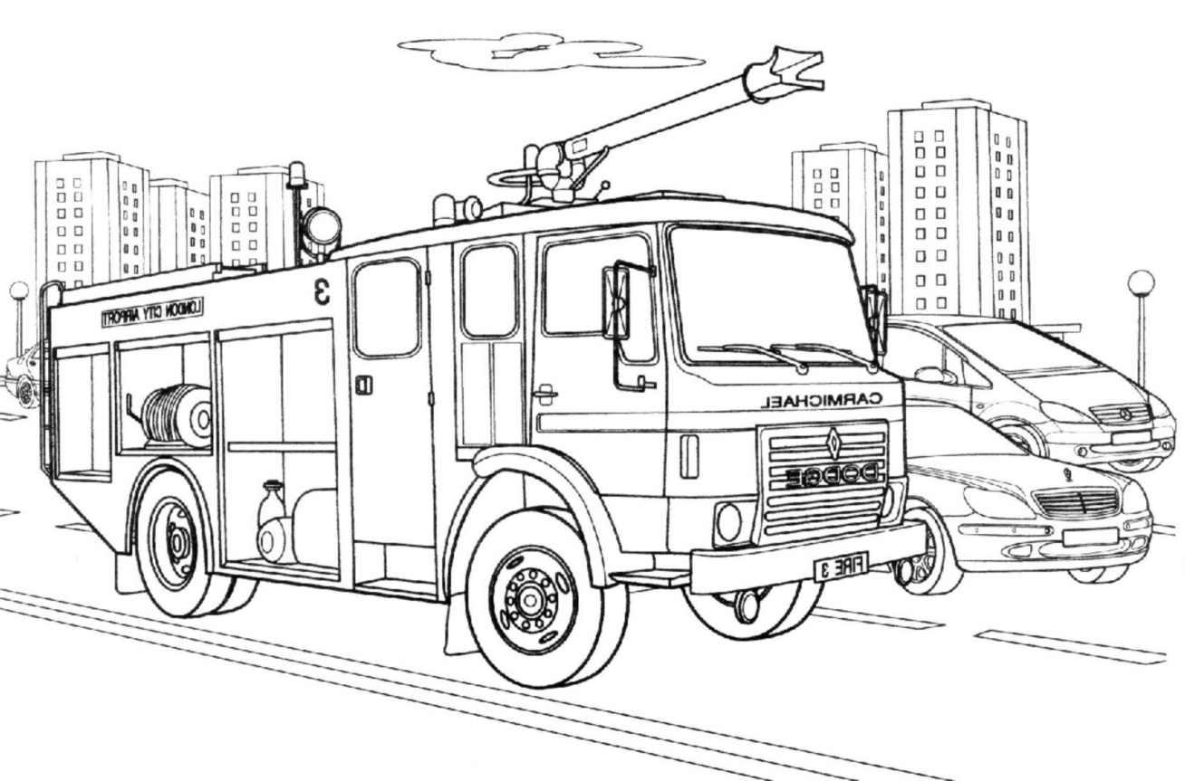 Camion De Pompier #59 (Transport) – Coloriages À Imprimer à Dessin De Pompier À Imprimer