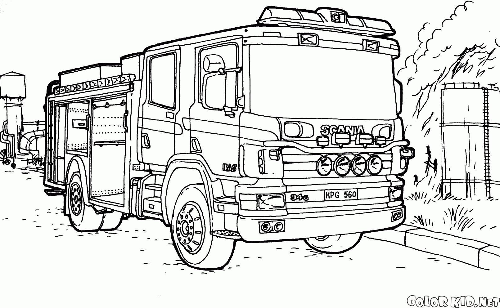 Camion De Pompier #65 (Transport) – Coloriages À Imprimer à Dessin De Pompier À Imprimer