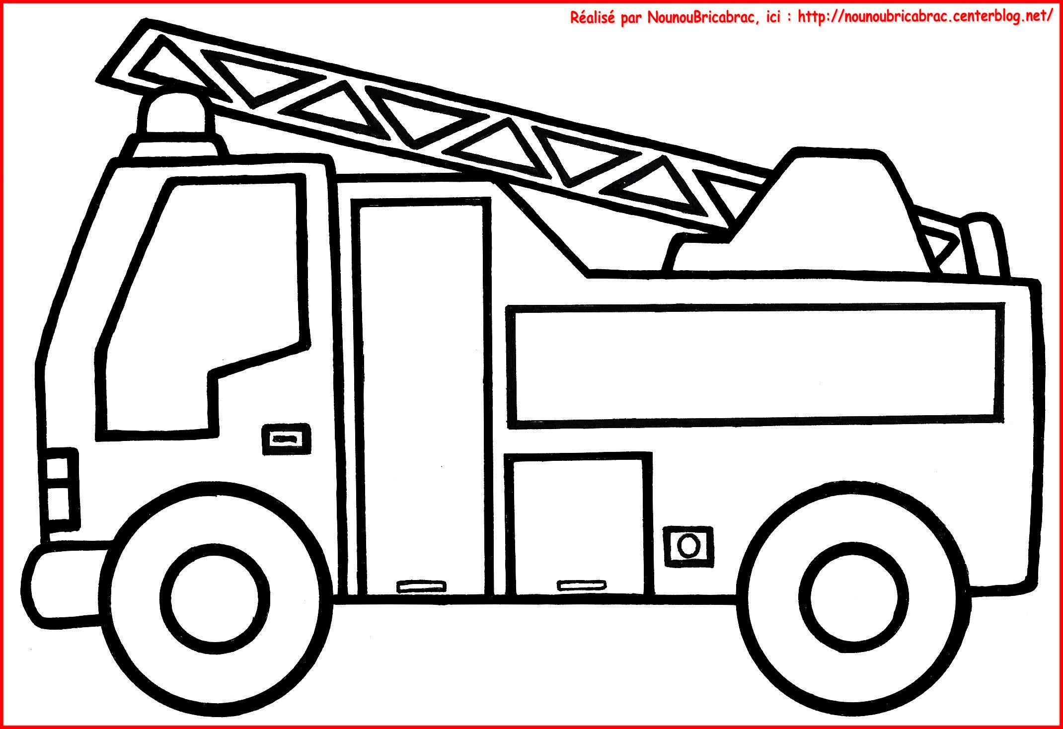 Camion De Pompier À Colorier | Coloriage Pompier intérieur Jeux De Camion De Pompier Gratuit