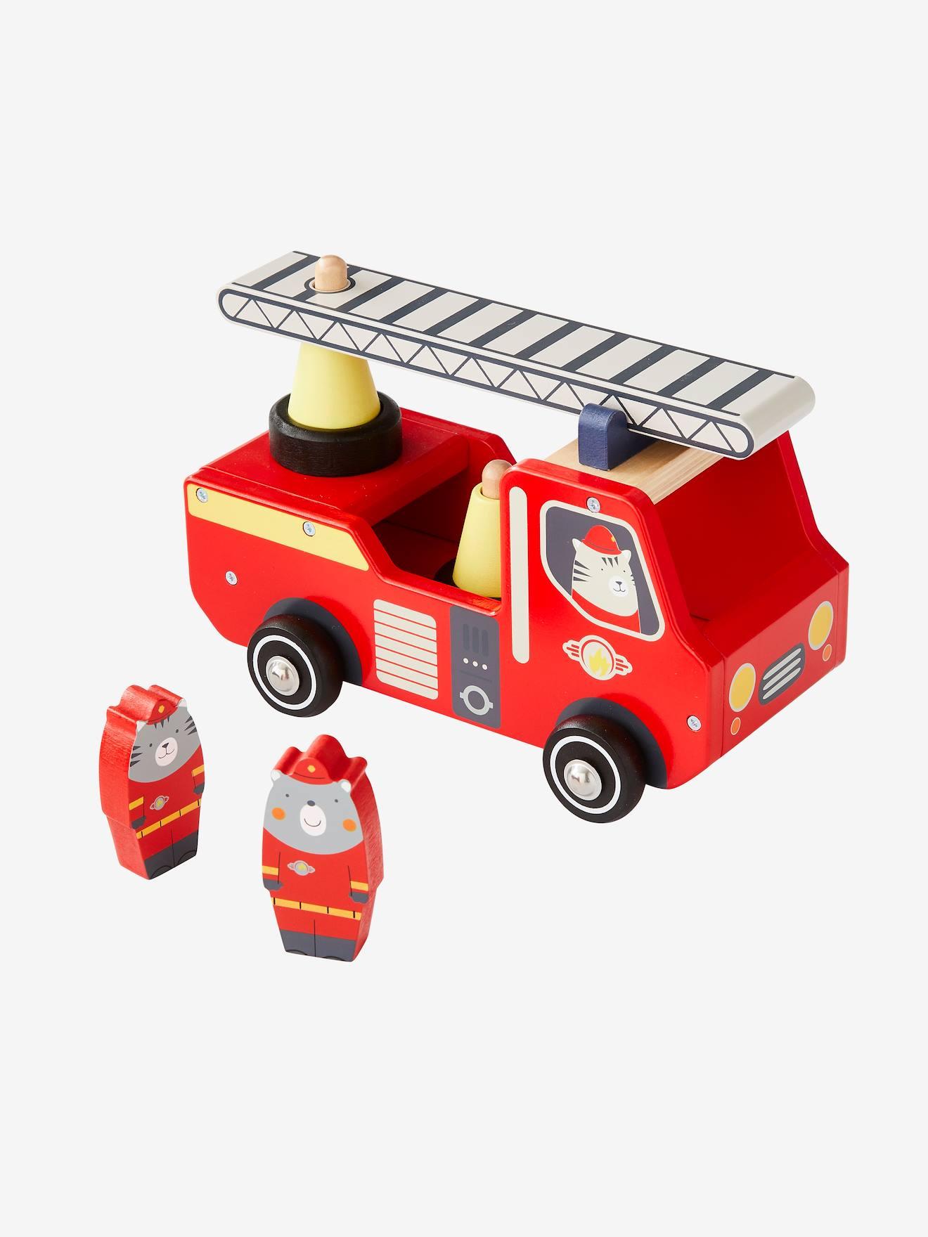 Camion De Pompier En Bois - Rouge, Jouet tout Jeux De Camion De Pompier Gratuit
