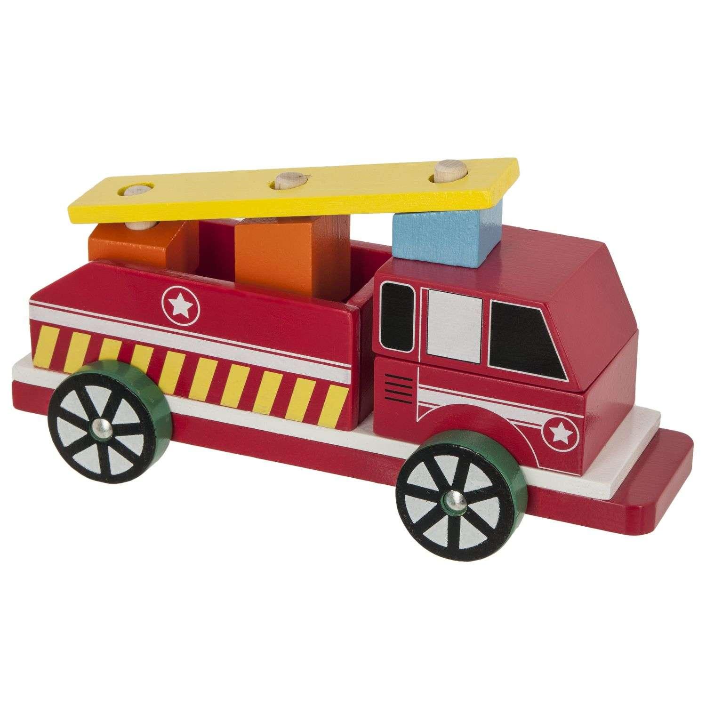 Camion Pompier En Bois - Rouge dedans Jeux De Camion De Pompier Gratuit