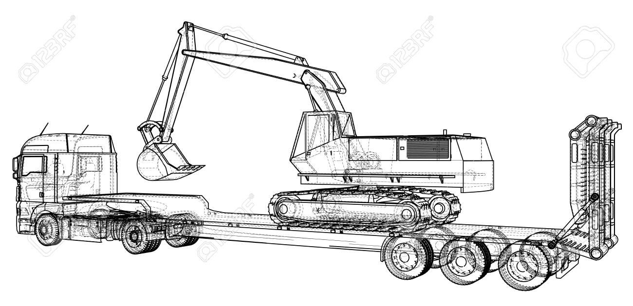 Camion Remorque Et Pelle Surbaissée. Dessin Abstrait. Tracer L'illustration  De 3D serapportantà Dessin D Un Camion