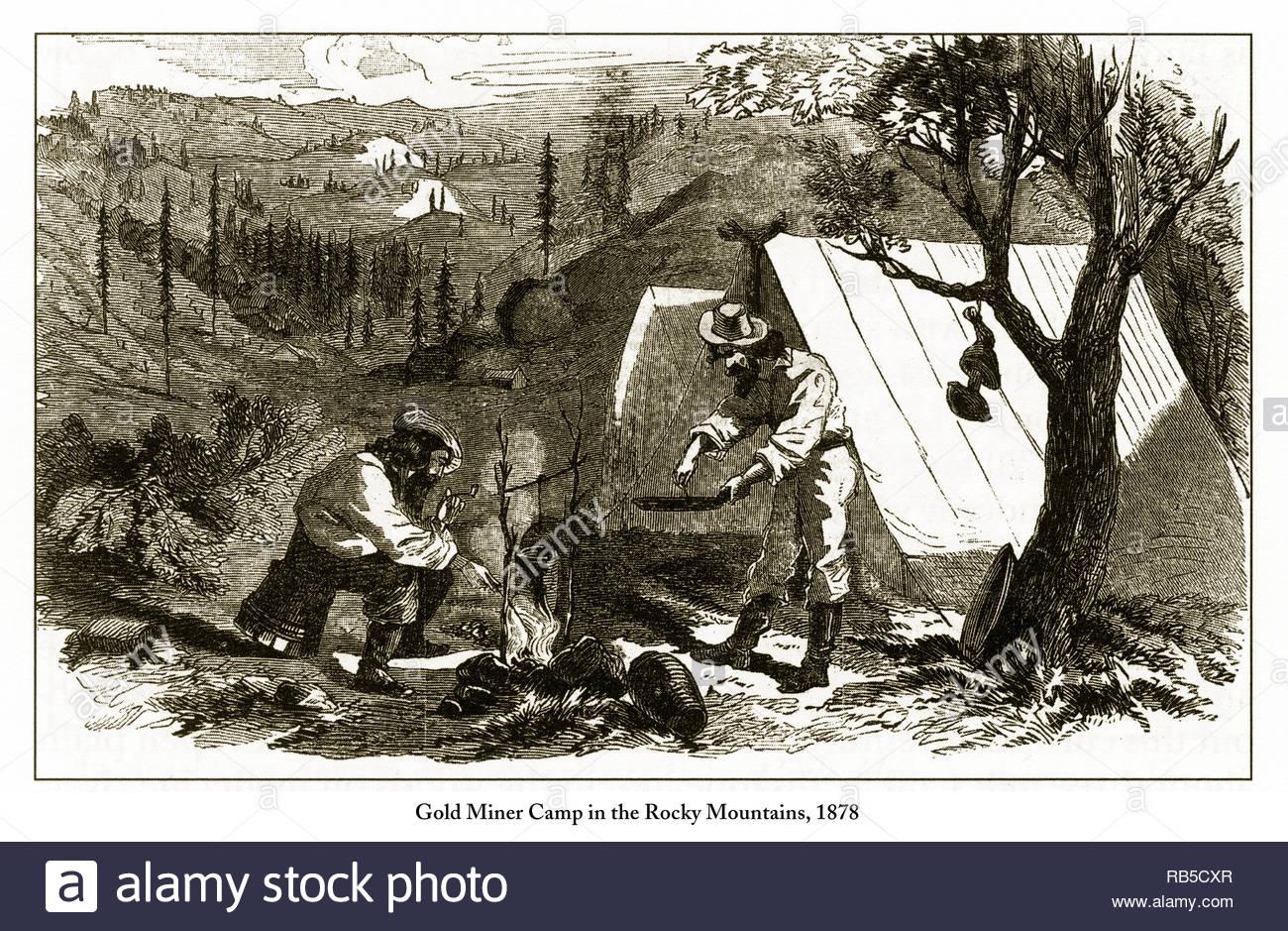 Camp De Mineur D'or Dans Les Montagnes Rocheuses, 1878 destiné Mineur D Or