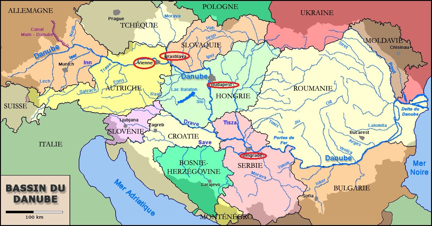 Capitales D'europe Traversées Par Le Danube destiné Carte Des Capitales De L Europe