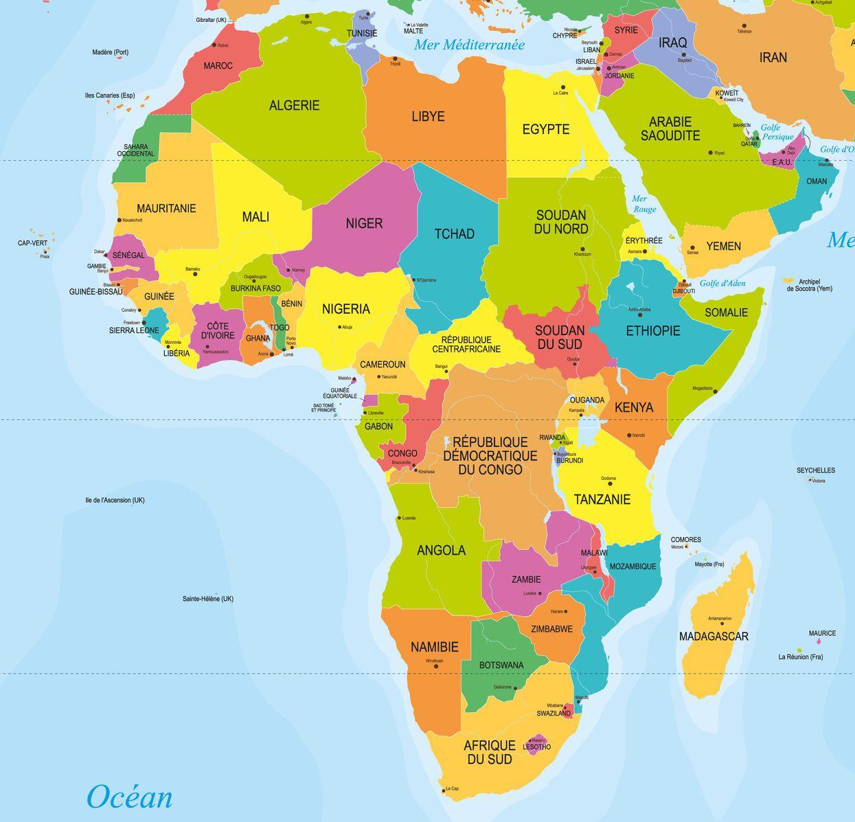 Capitales En Afrique Avec Une Carte Du Continent Pour Les à Carte D Europe Avec Les Capitales
