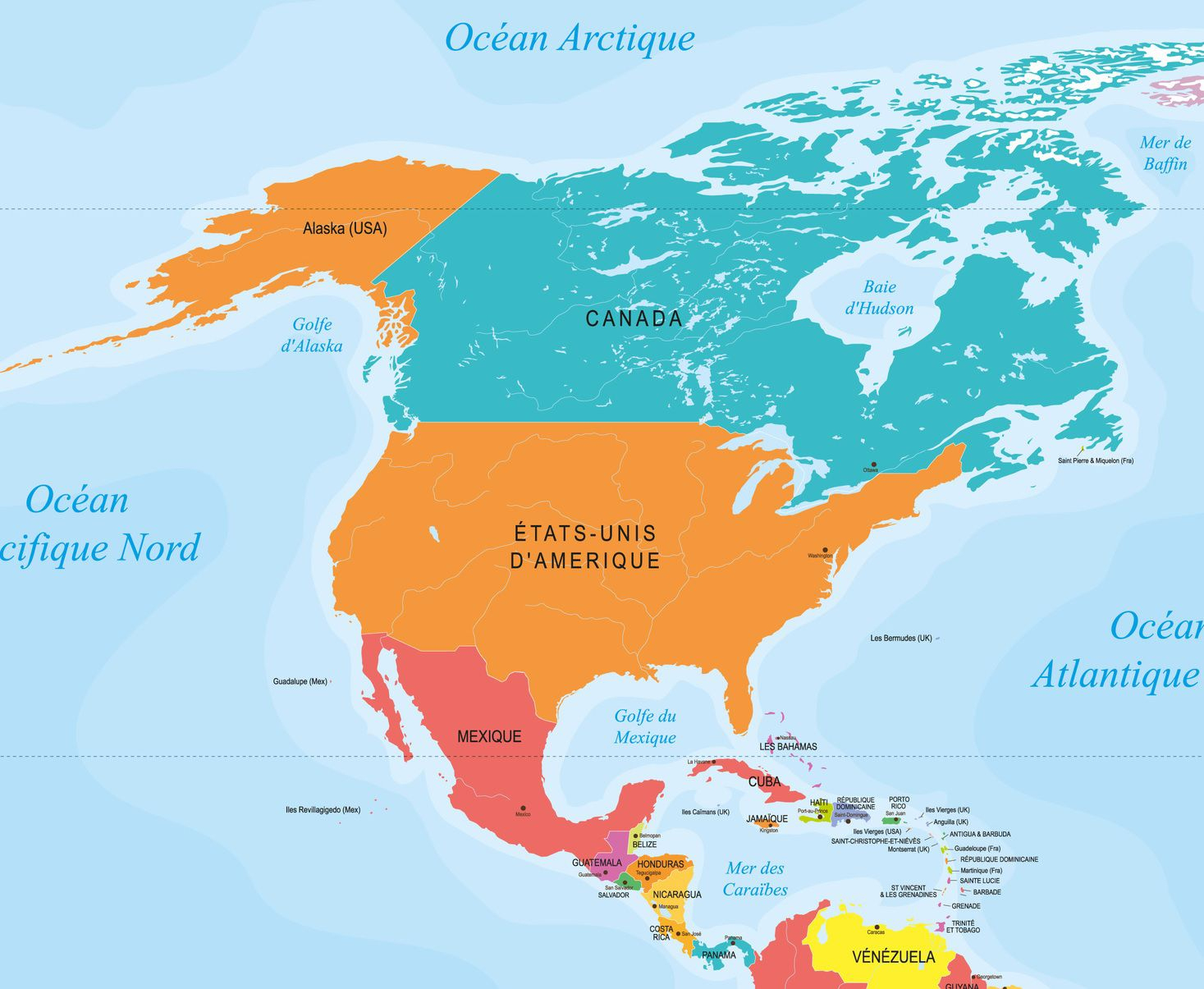 Capitales En Amérique Du Nord Et Centrale Avec Une Carte pour Carte Europe Avec Capitales