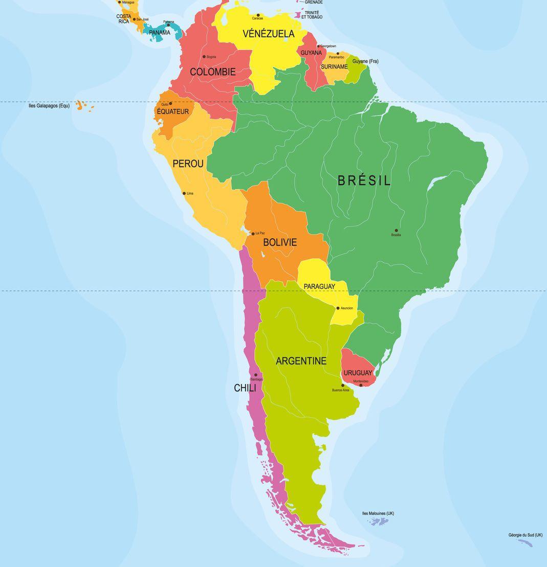 Capitales En Amérique Du Sud Avec Une Carte Pour Les Localiser à Carte Europe Avec Capitale