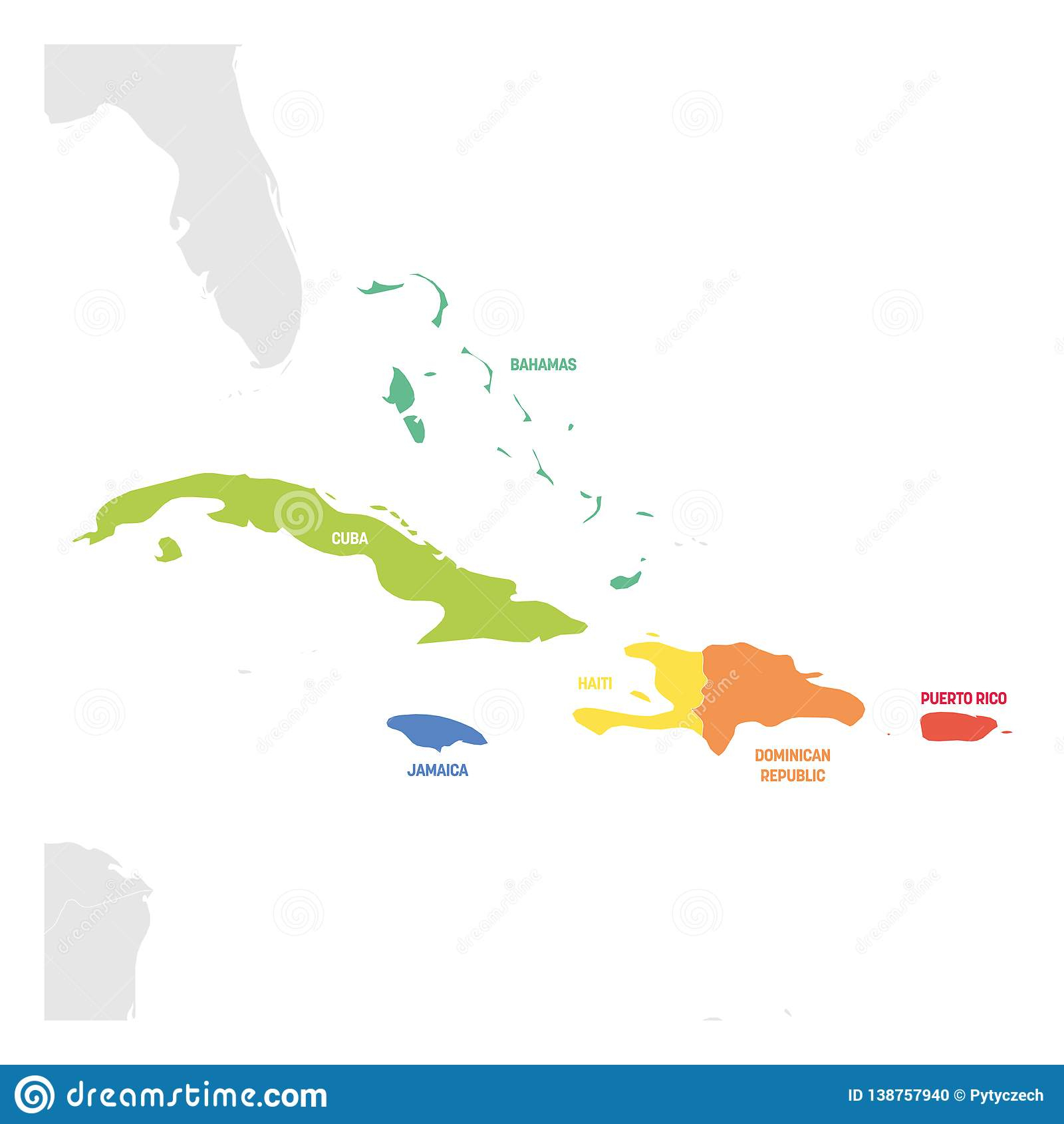 Caribbean Region. Colorful Map Of Countries In Caribbean Sea tout Nombre De Region