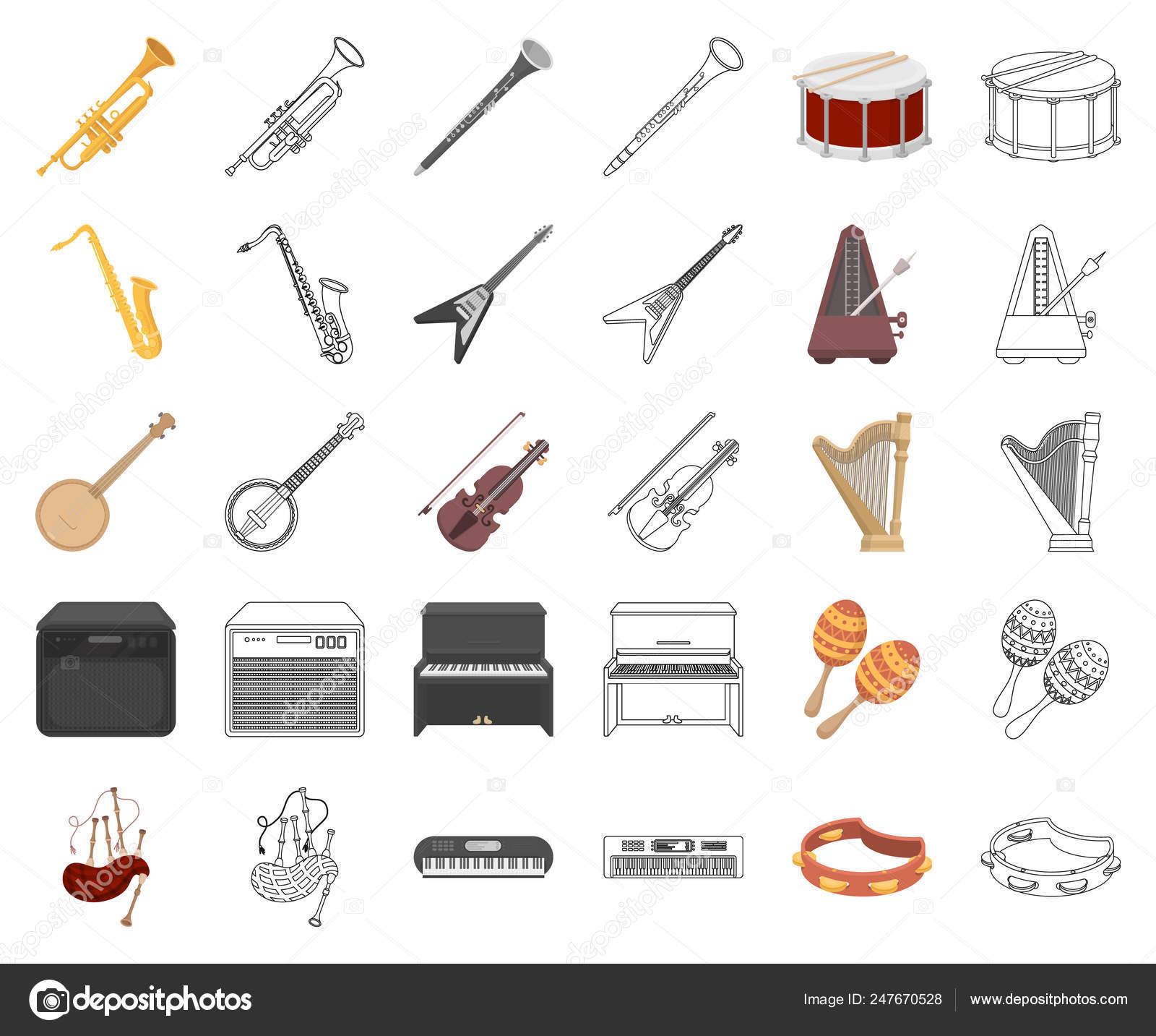 Caricature De L'instrument De Musique, Icônes De Contour tout Jeu Des Instruments De Musique