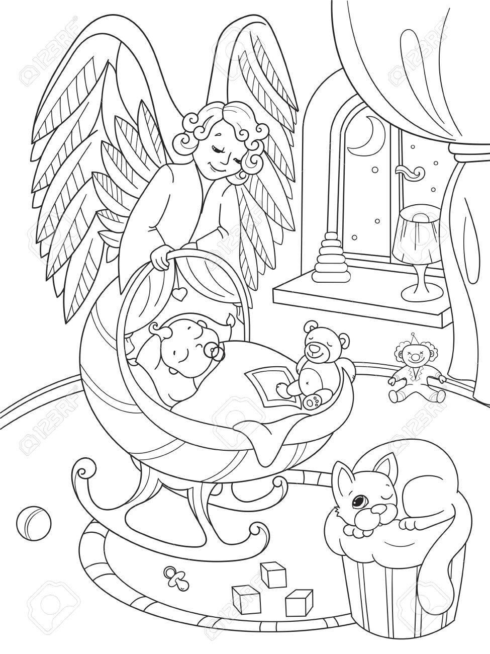 Caricature, Livre De Coloriage. L'ange Gardien Protège Le Sommeil Des  Bébés. L'intérieur De La Chambre Des Enfants encequiconcerne Ange A Colorier