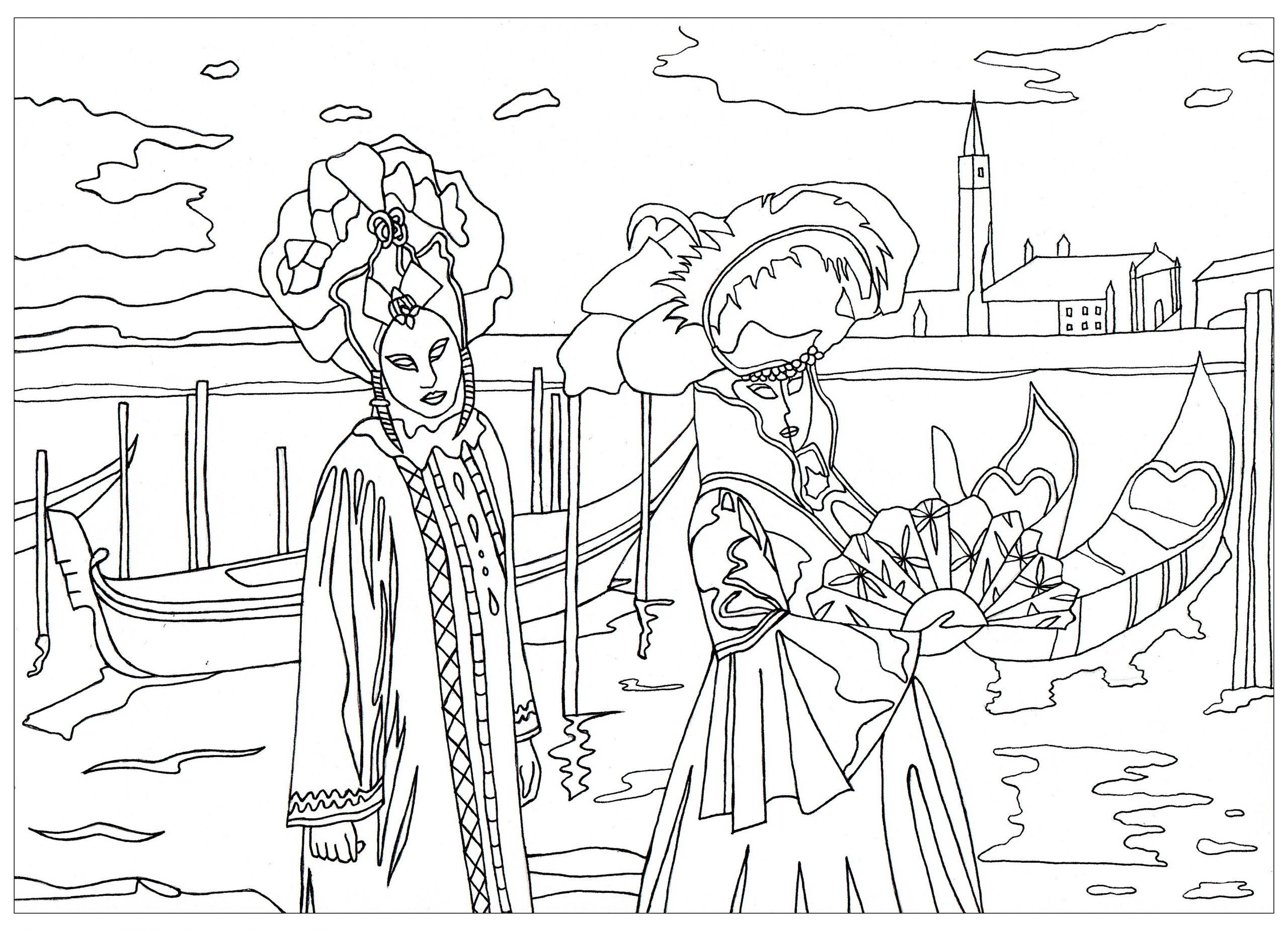 Carnaval De Venise - Coloriage Adulte - Coloriages Pour Enfants intérieur Coloriage De Carnaval A Imprimer Gratuit