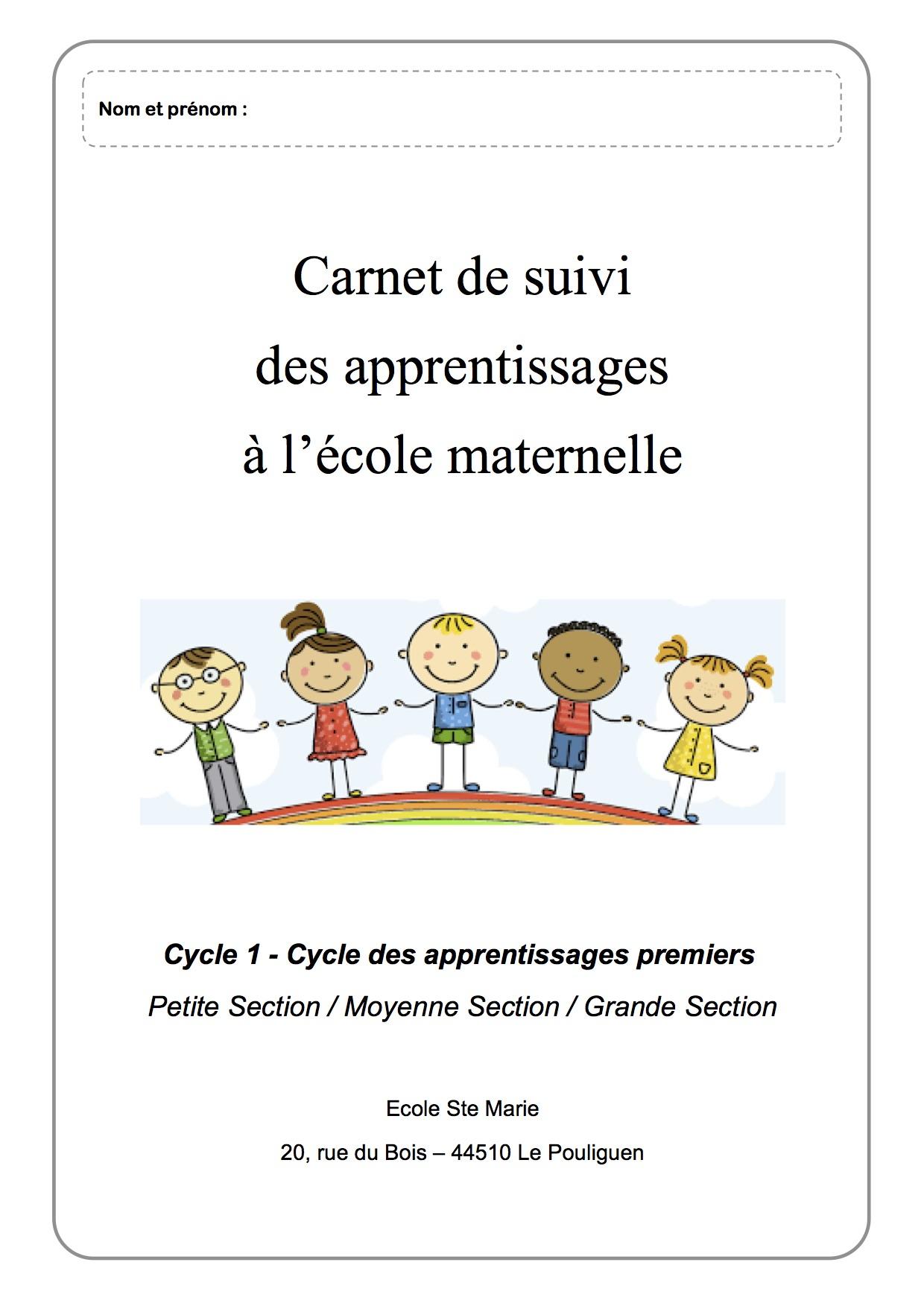 Carnet De Suivi Cycle 1 Ps/ms/gs - La Classe De Luccia ! pour Journal De Vacances A Imprimer