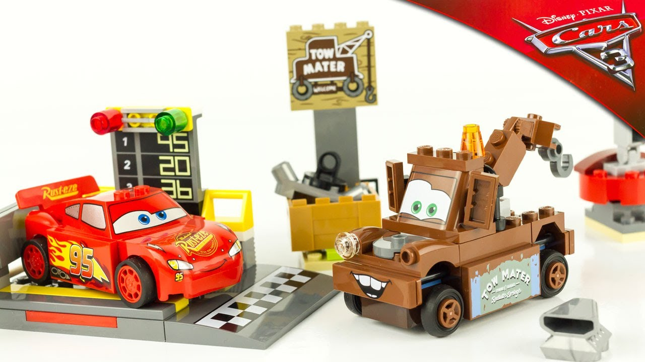 Cars 3 Lego Junior Lightning Mcqueen Speed Launcher Mater Junkyard 10730  10733 Toy Review pour Flash Mcqueen Martin