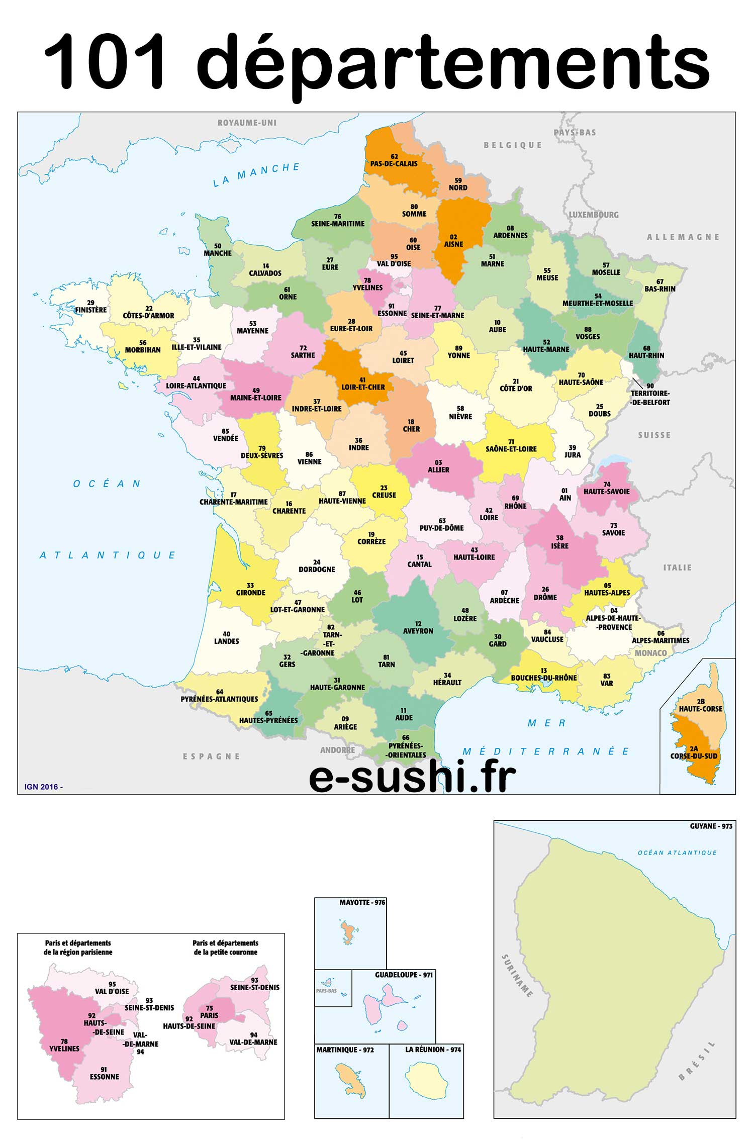 Carte 101 Départements » Vacances - Arts- Guides Voyages dedans Carte Departements Francais